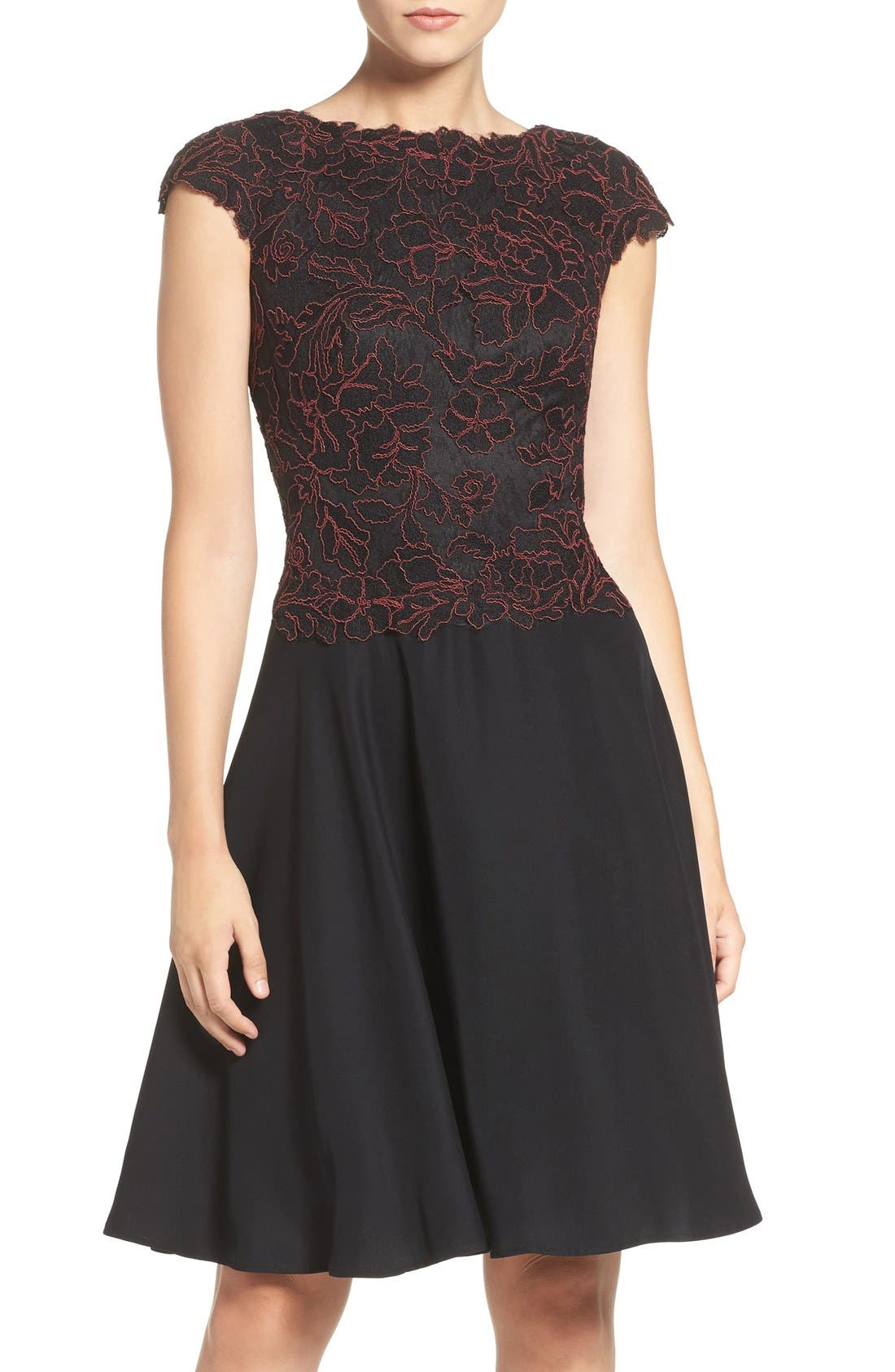 Embroidered Lace Fit & Flare Dress,                             Main thumbnail 1, color,