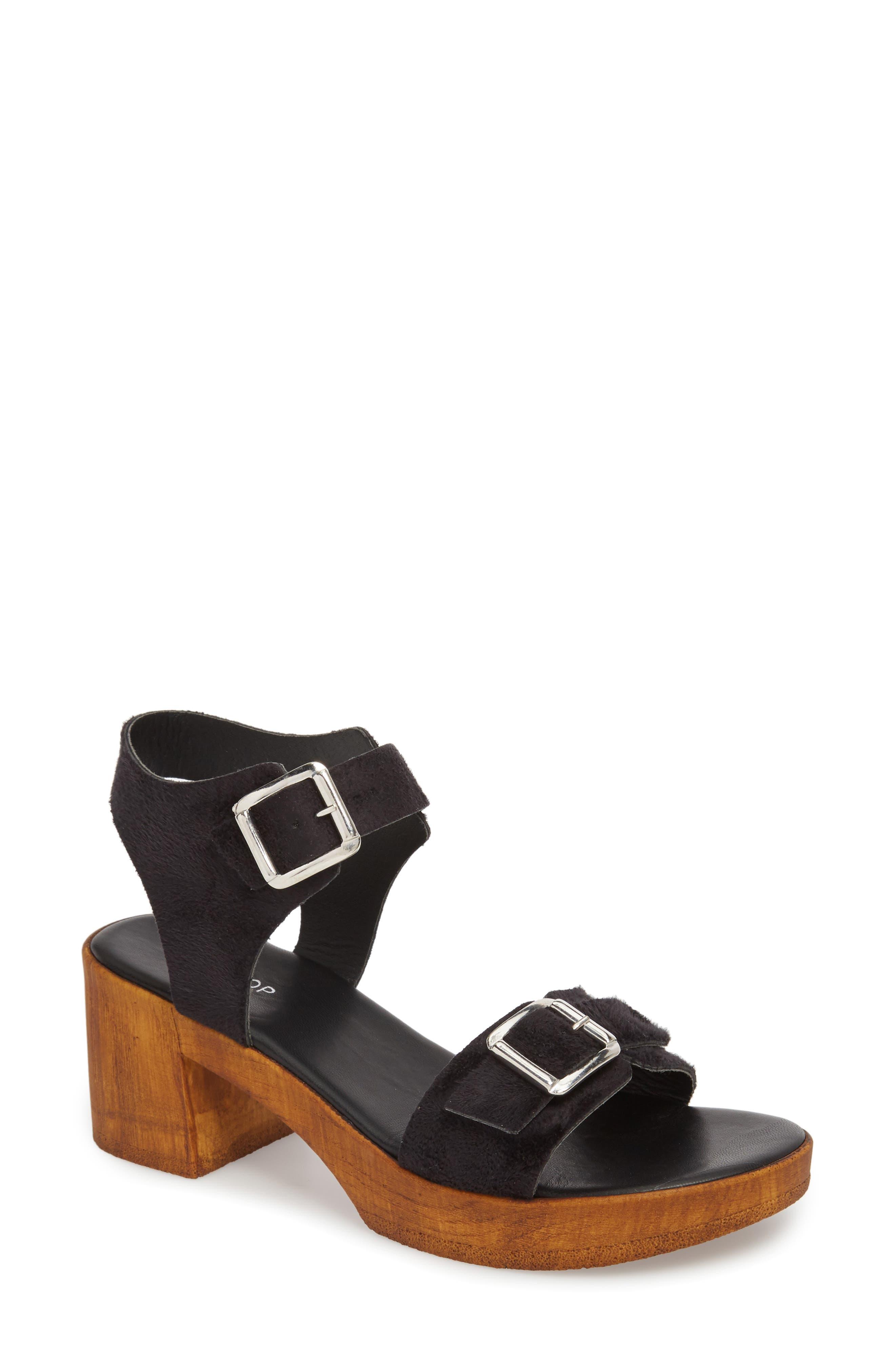 Buckle Platform Sandal,                         Main,                         color, BLACK MULTI