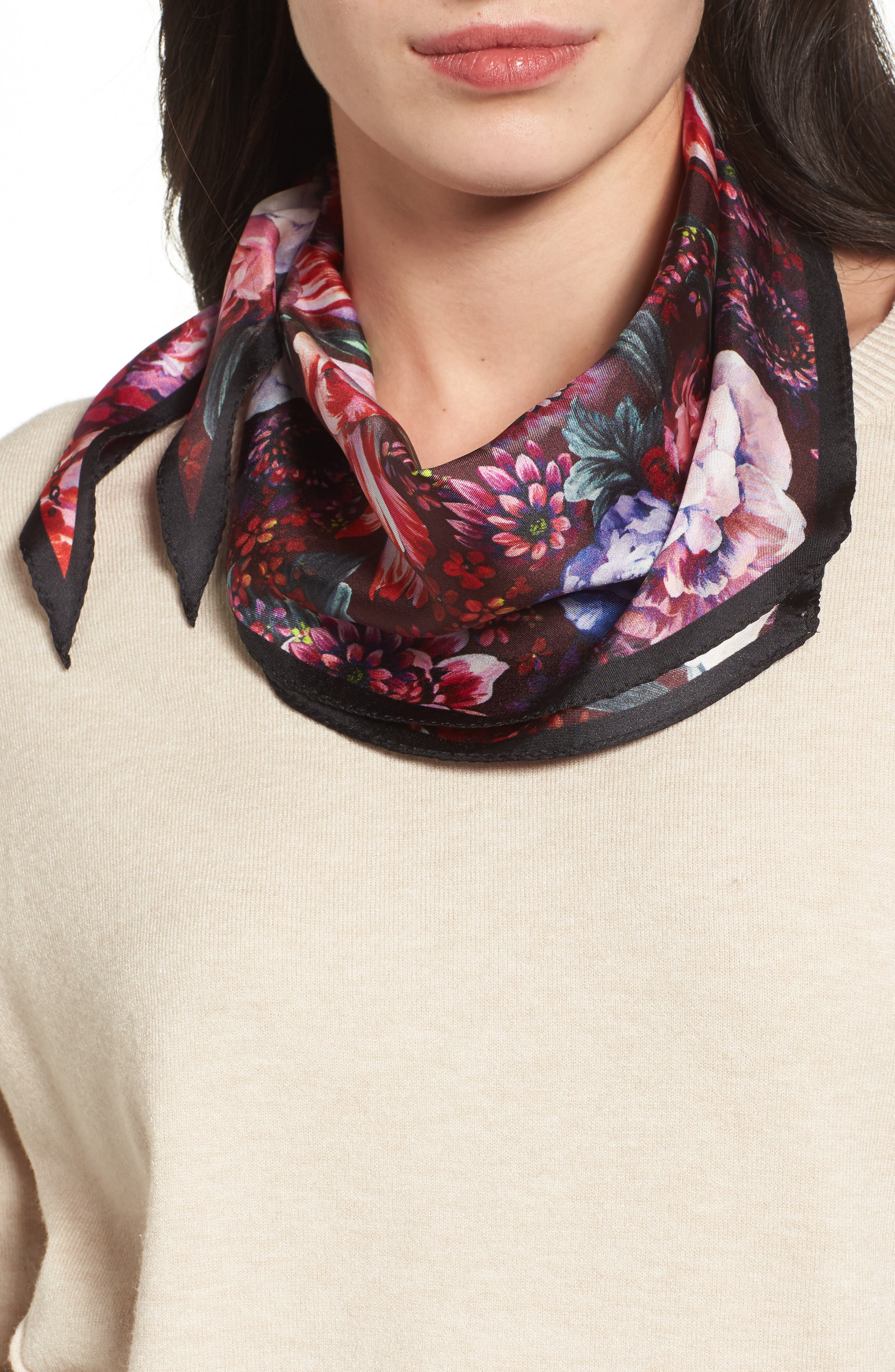 Winter Floral Diamond Silk Scarf,                         Main,                         color, 001