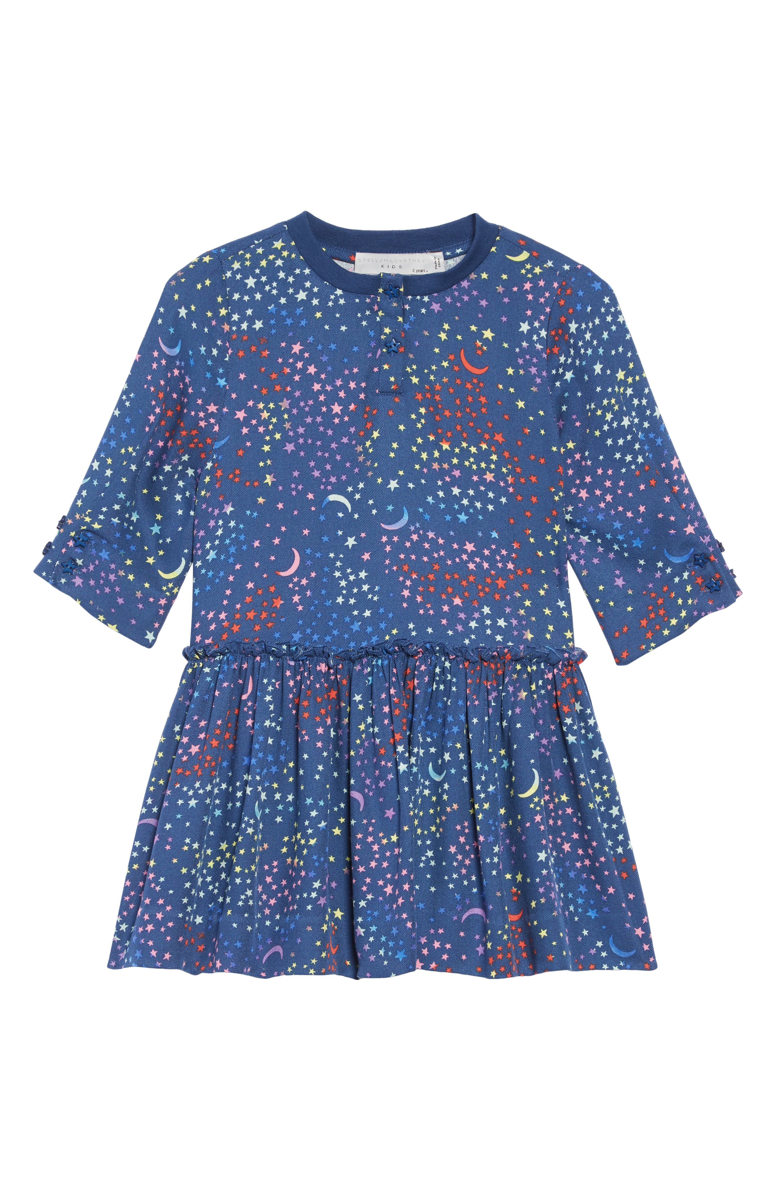 Stella McCartney Kiwi Star Print Dress,                             Main thumbnail 1, color,                             BLUE