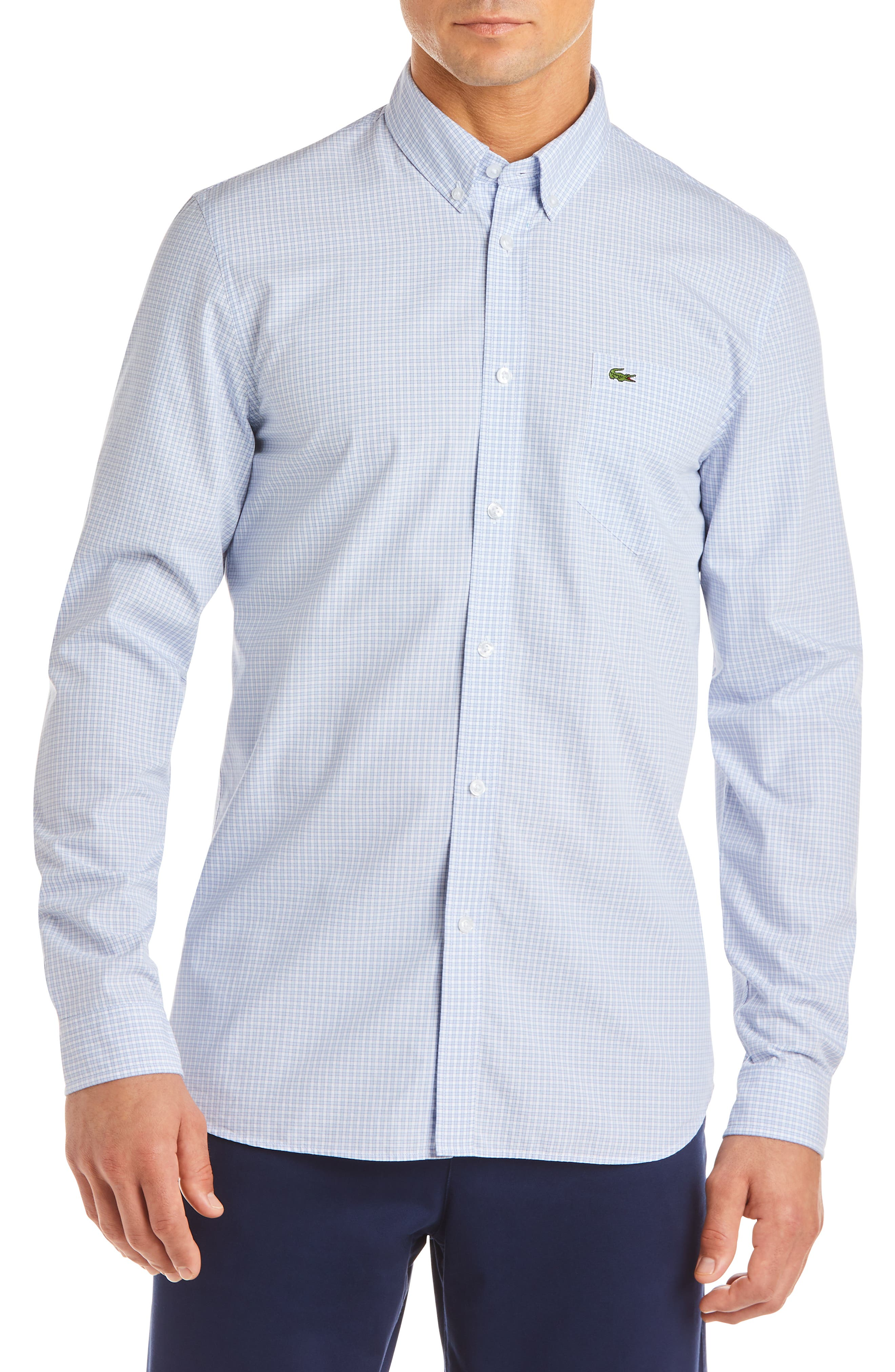Regular Fit Check Sport Shirt, Main, color, IODINE/ WHITE