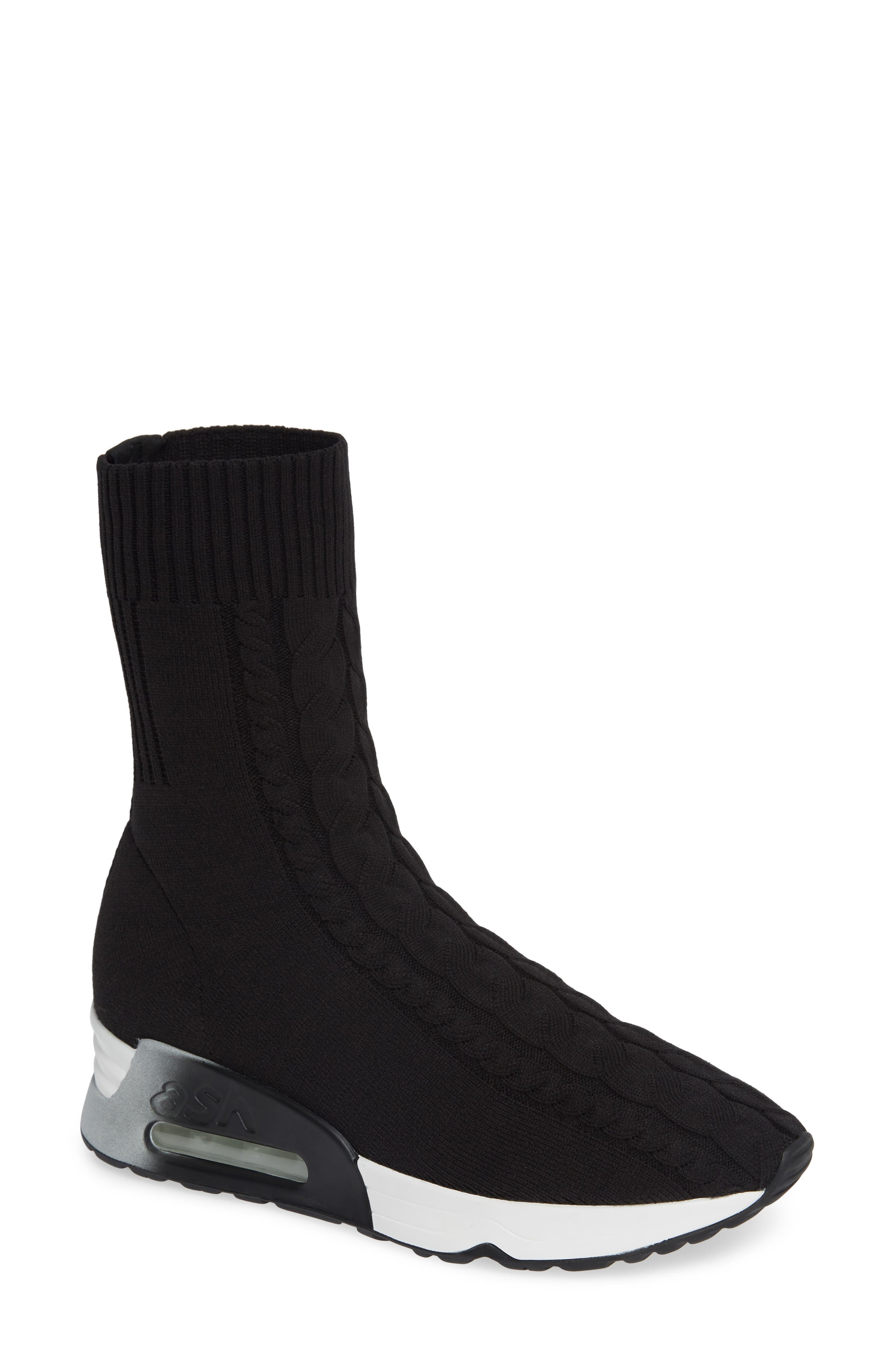 Liv Knit Sneaker Bootie,                         Main,                         color, BLACK