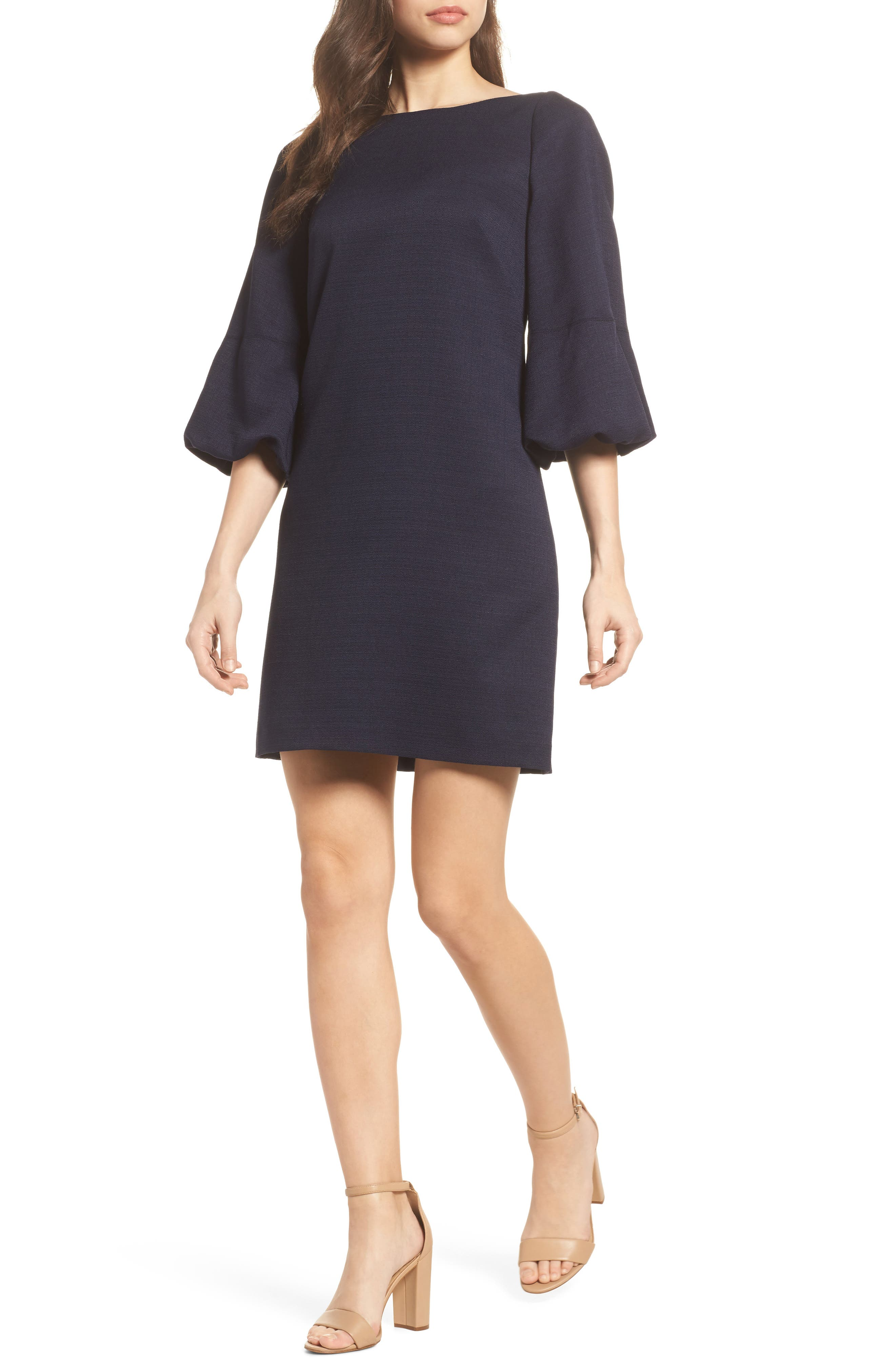 Puff Sleeve Shift Dress,                         Main,                         color,