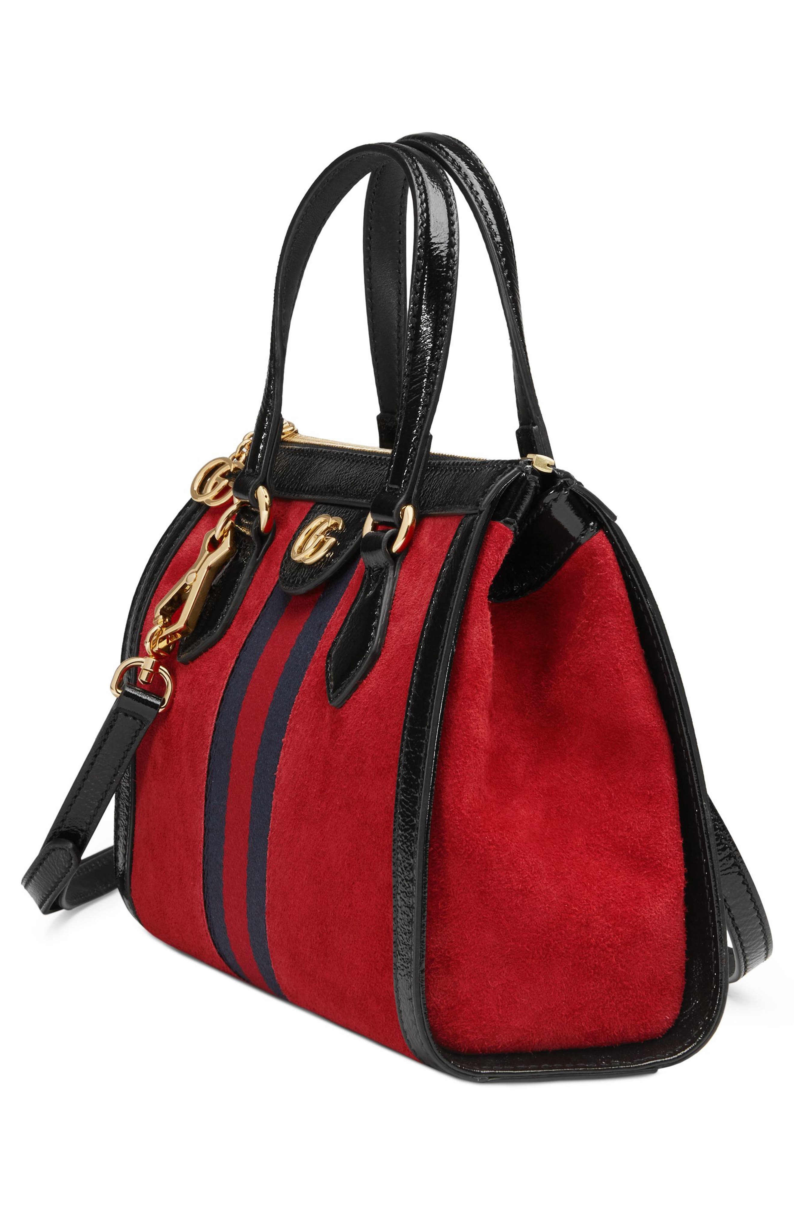 Small Ophidia House Web Suede Satchel,                             Alternate thumbnail 4, color,                             HIBISCUS RED/ NERO/ BLUE