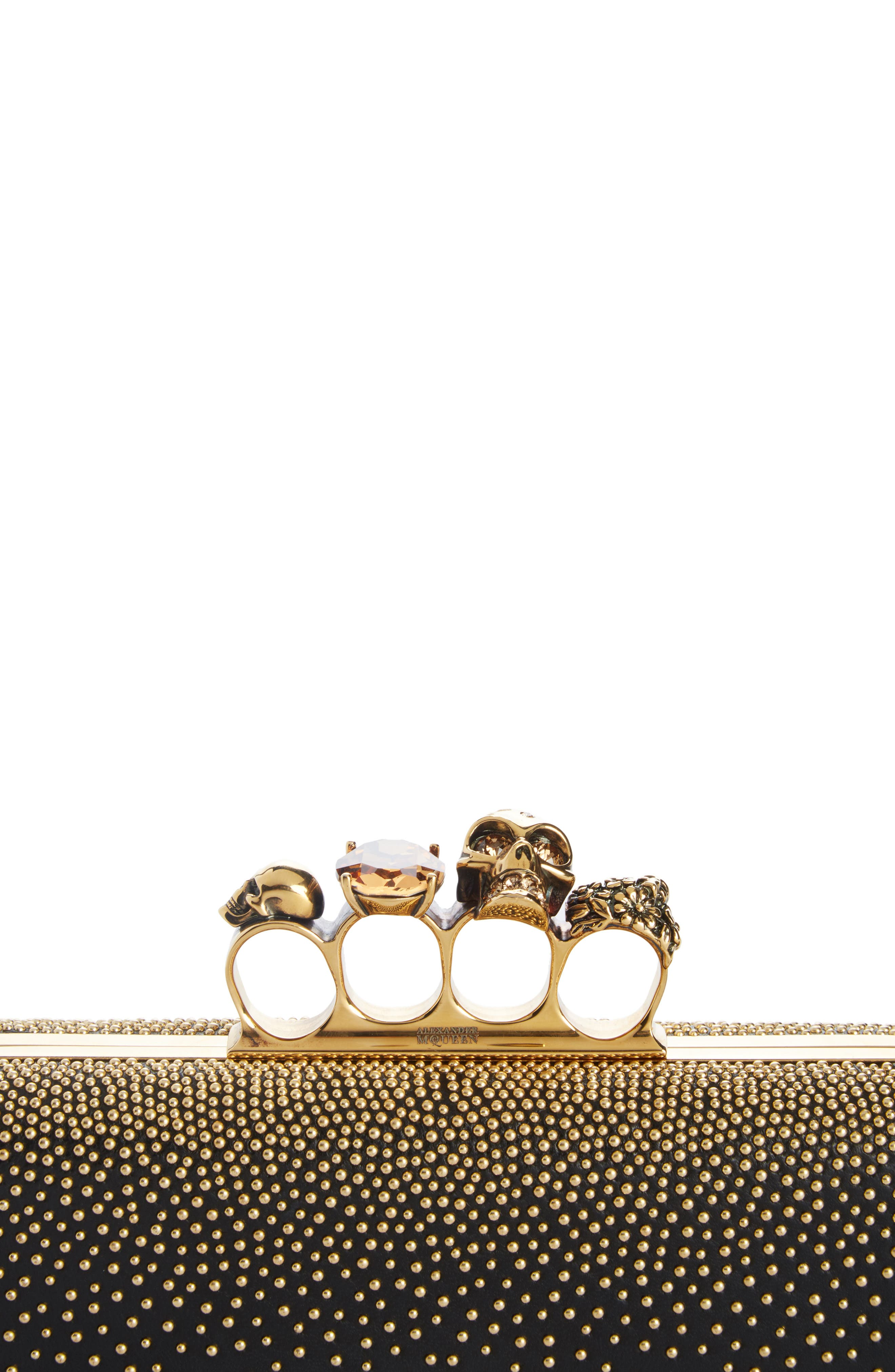 Studded Leather Knuckle Clutch,                             Alternate thumbnail 7, color,                             001