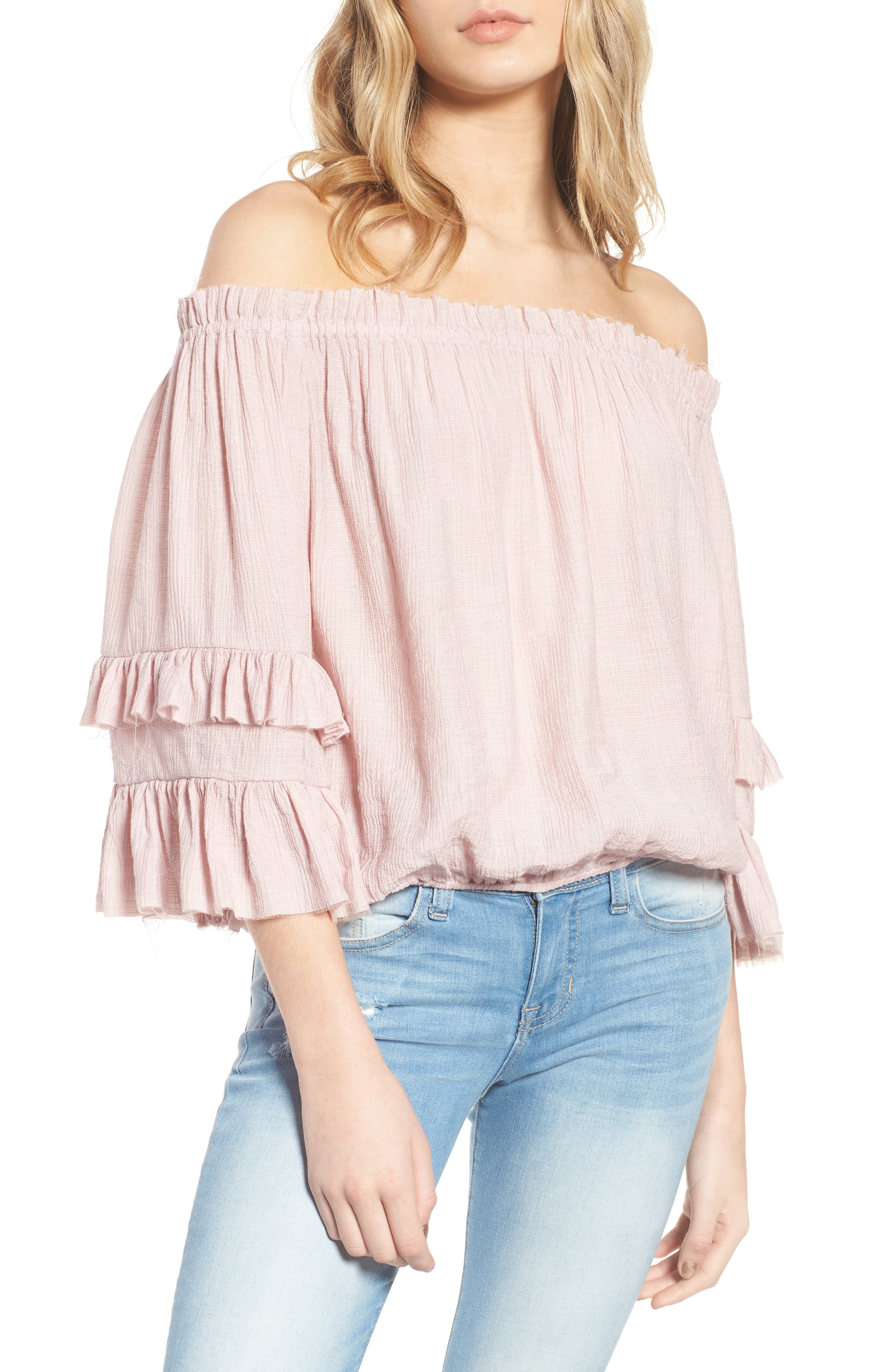 KNOW ONE CARES Tiered Off the Shoulder Top, Main, color, 685