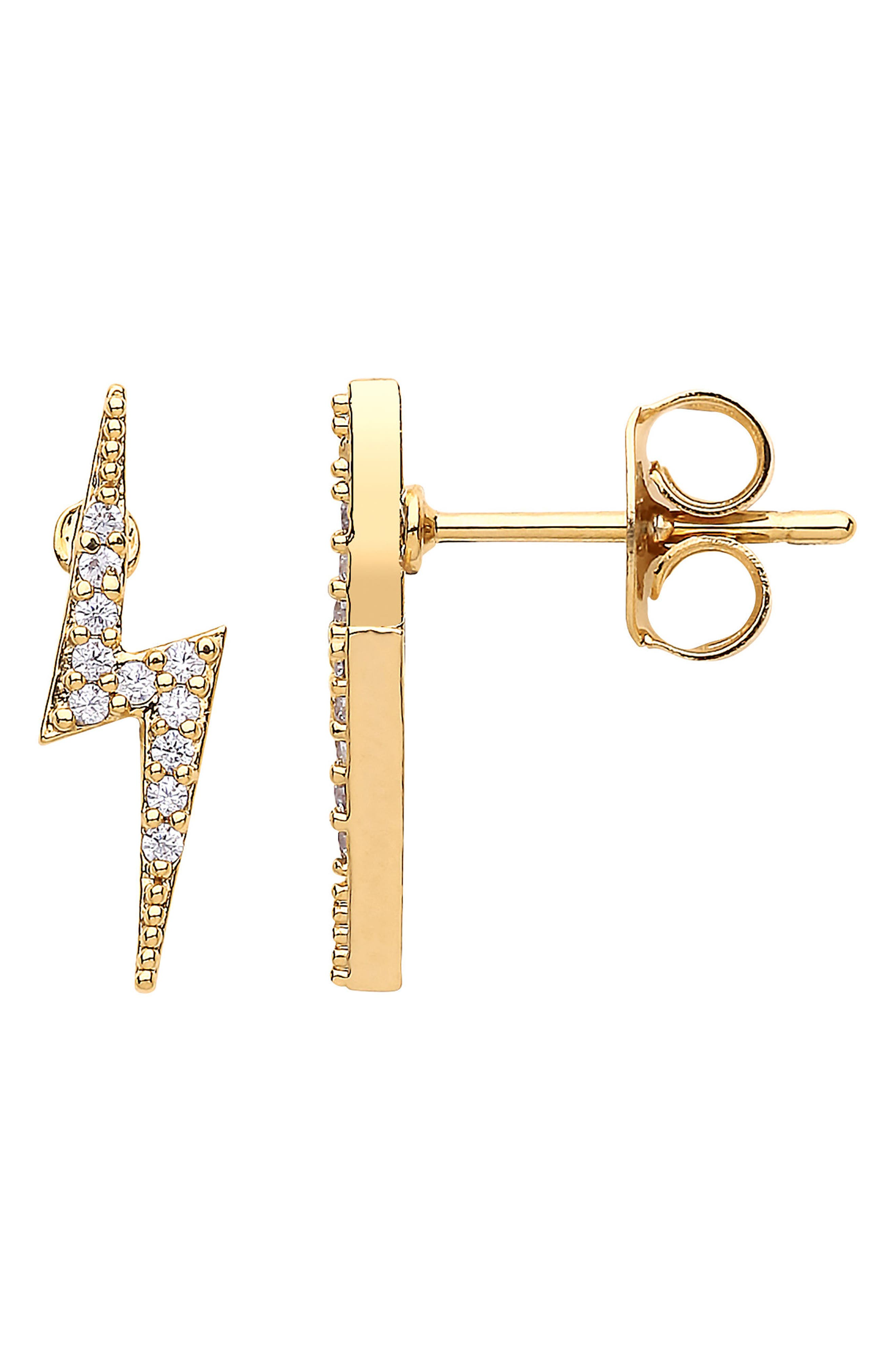 Crystal Lightning Bolt Stud Earrings,                         Main,                         color,