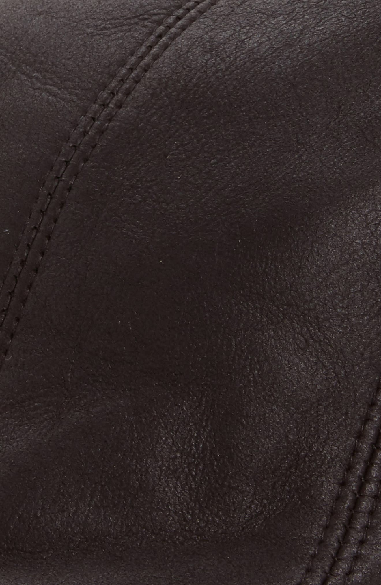 Genuine Shearling Leather Driving Cap,                             Alternate thumbnail 2, color,                             BLACK