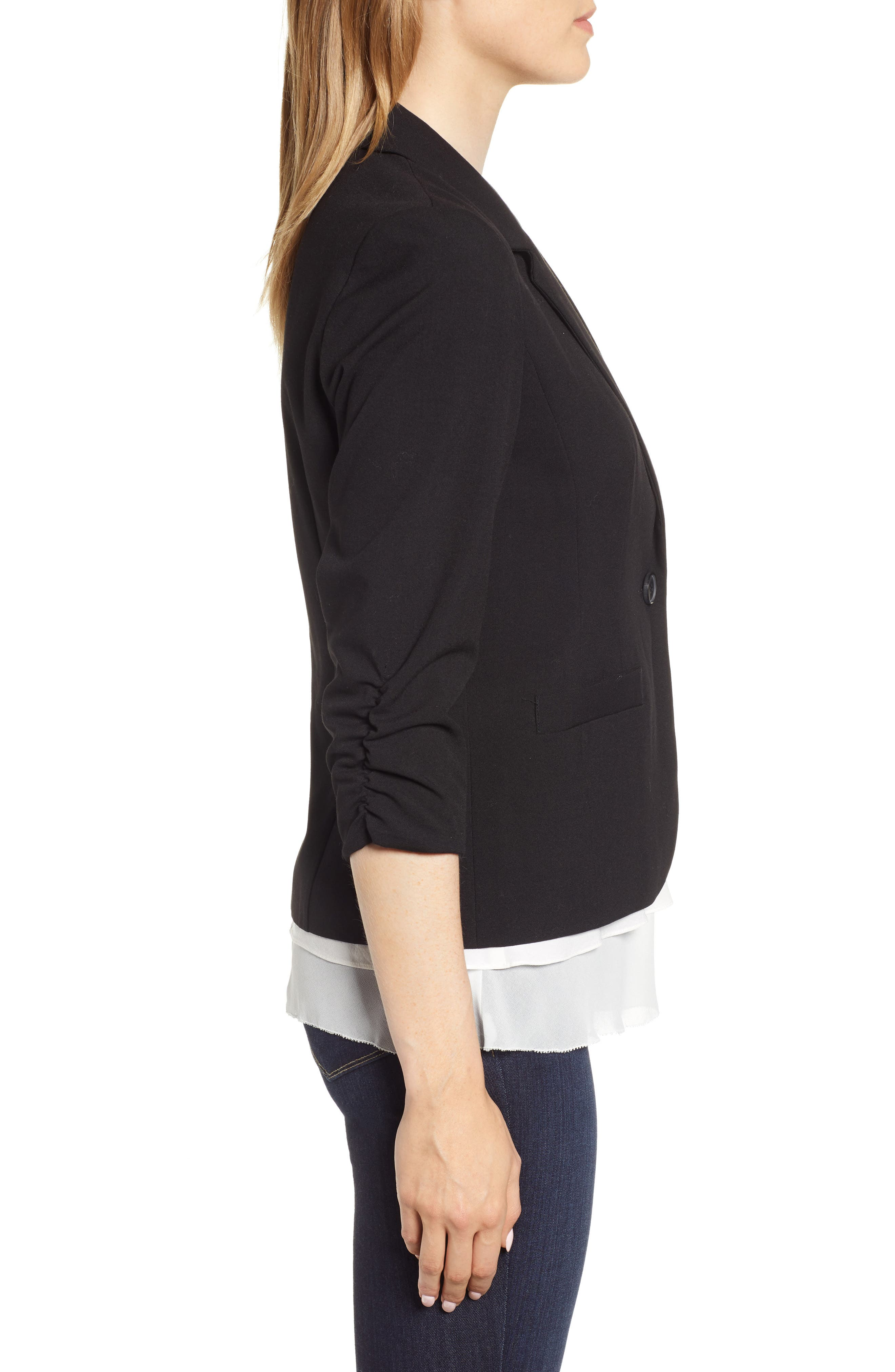 Ruched Sleeve Blazer,                             Alternate thumbnail 3, color,                             RICH BLACK