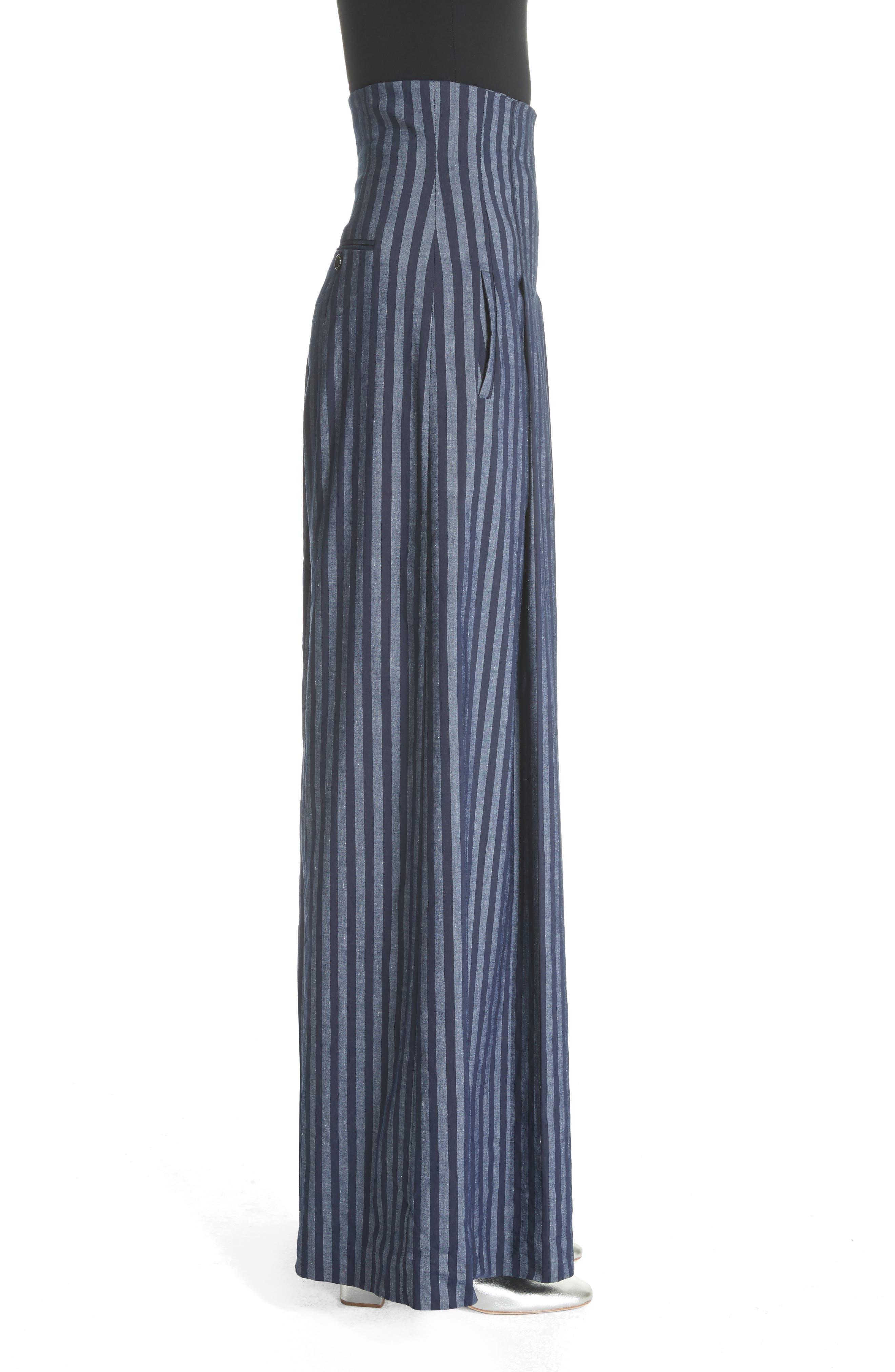 Stripe Wide Leg Pants,                             Alternate thumbnail 3, color,                             417
