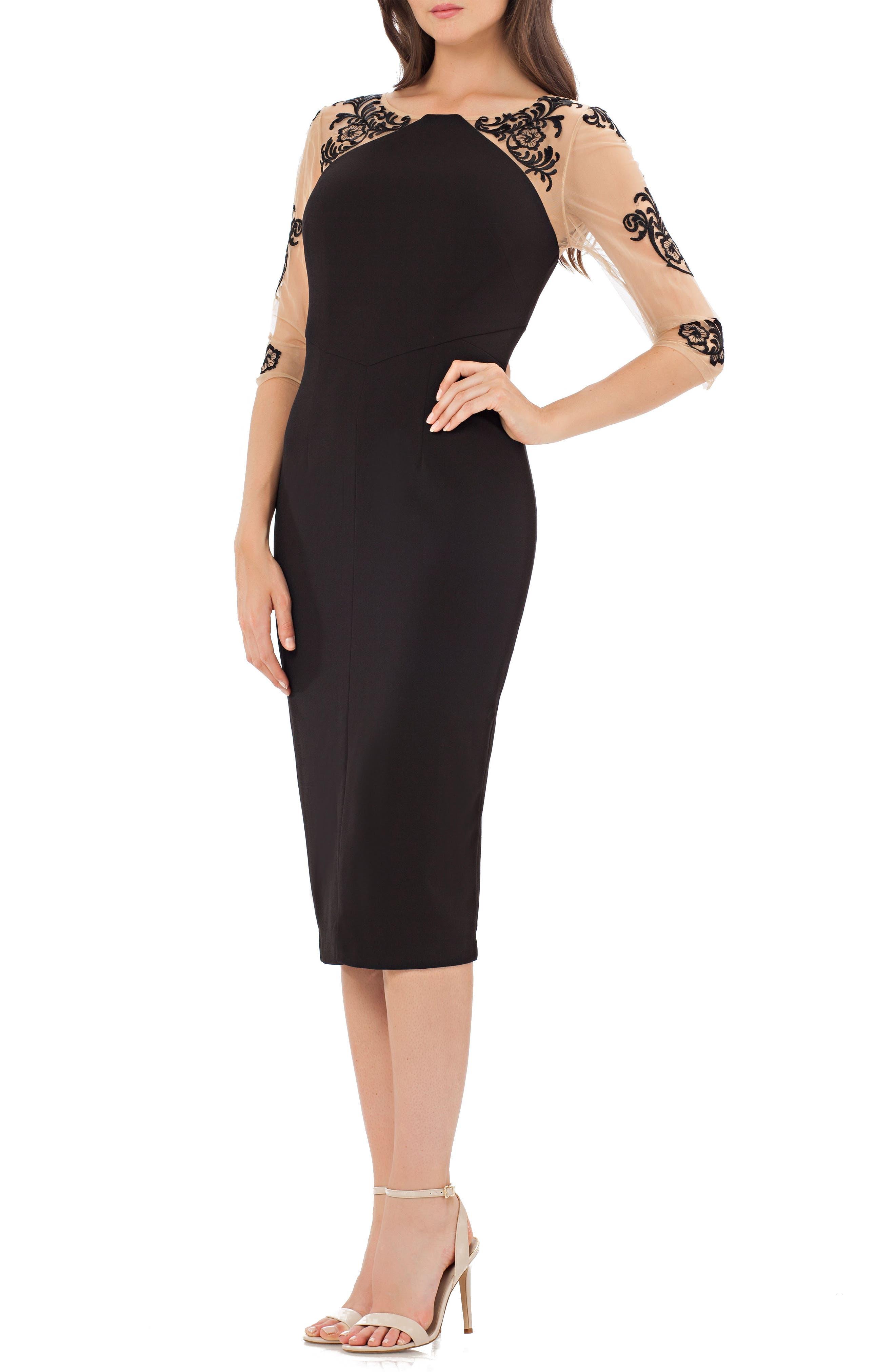 Illusion Sleeve Sheath Dress,                         Main,                         color,
