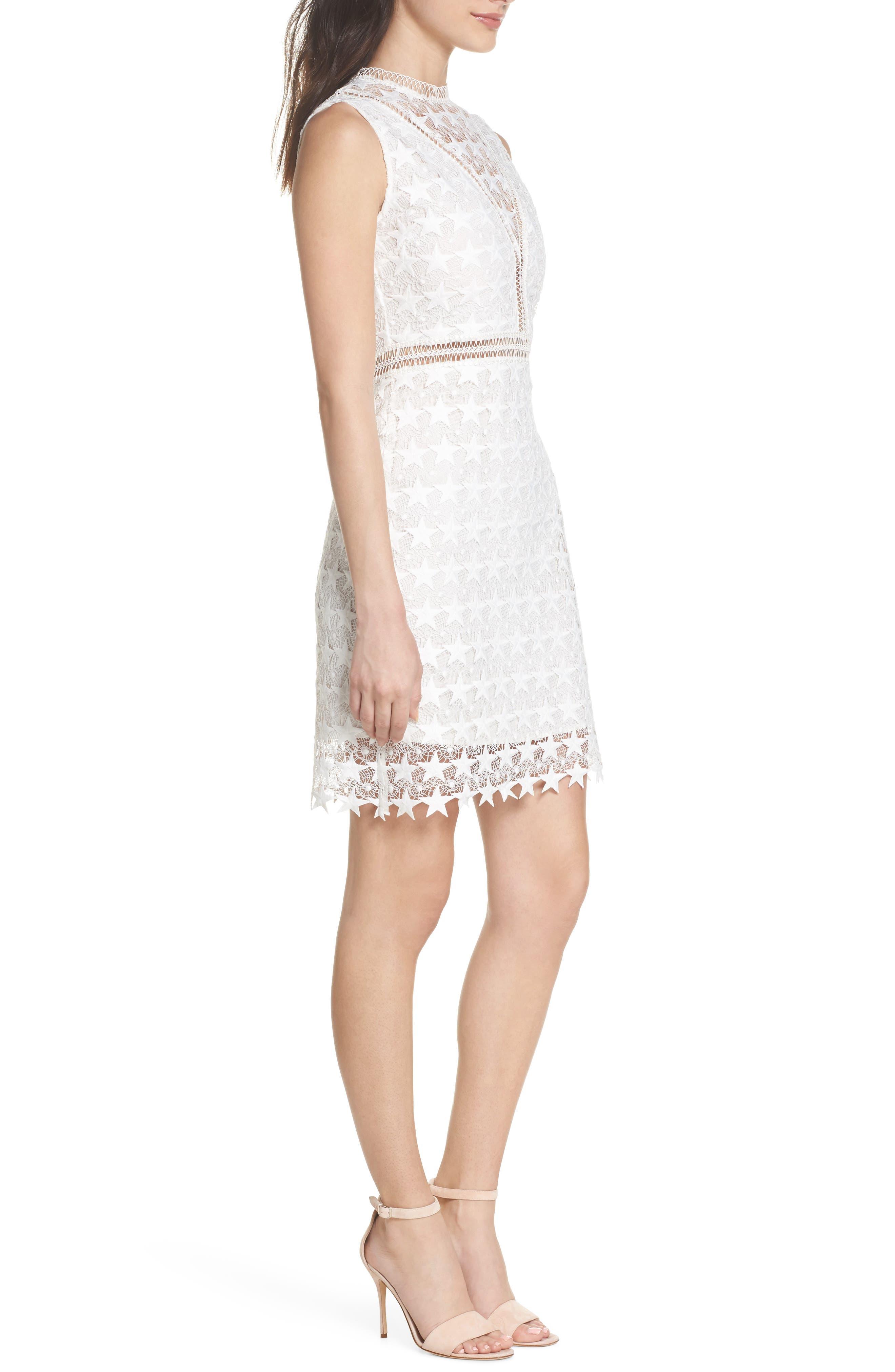 Star Lace Sheath Dress,                             Alternate thumbnail 3, color,                             IVORY