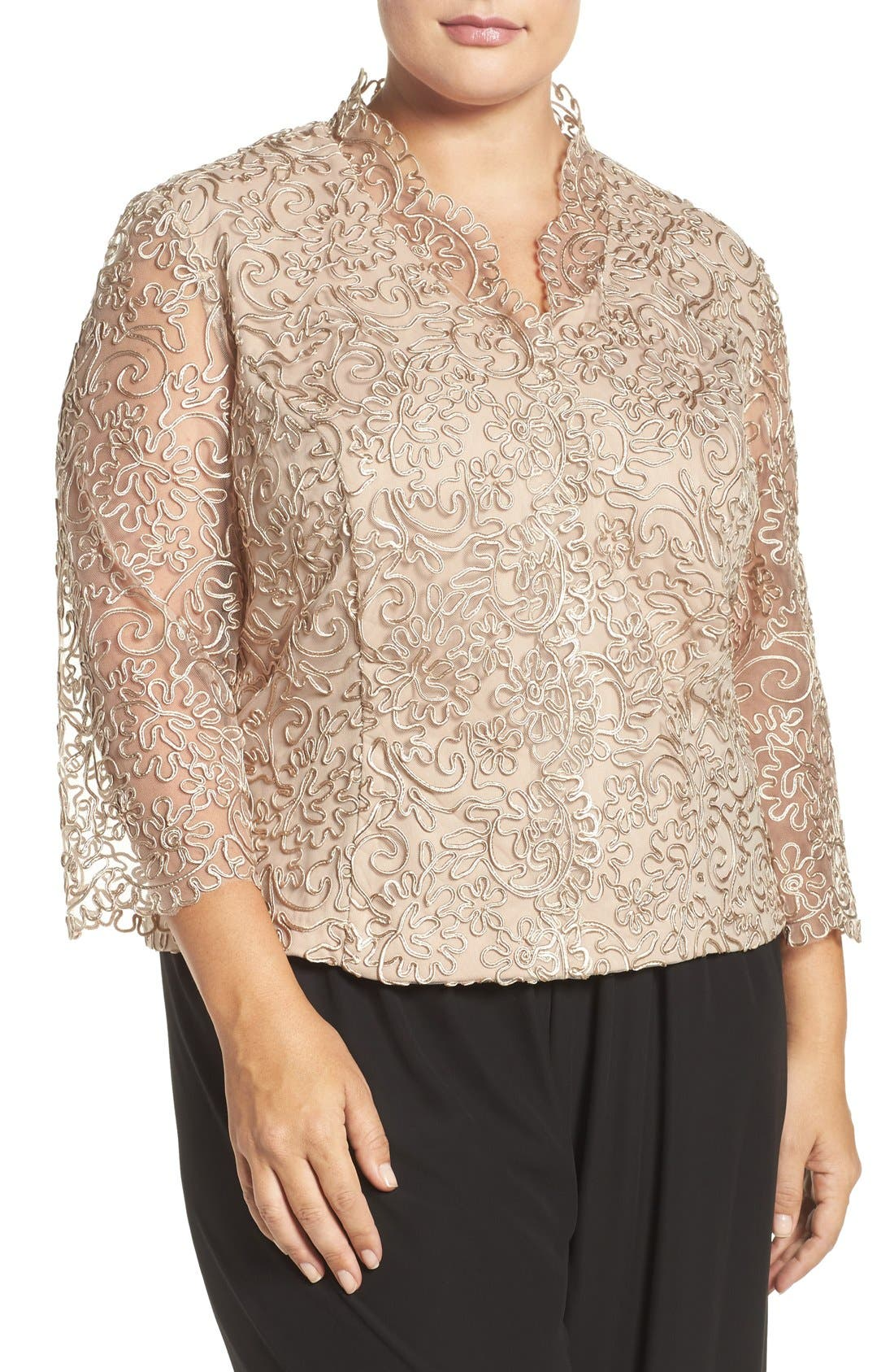 Embroidered Illusion Sleeve Blouse,                             Main thumbnail 3, color,