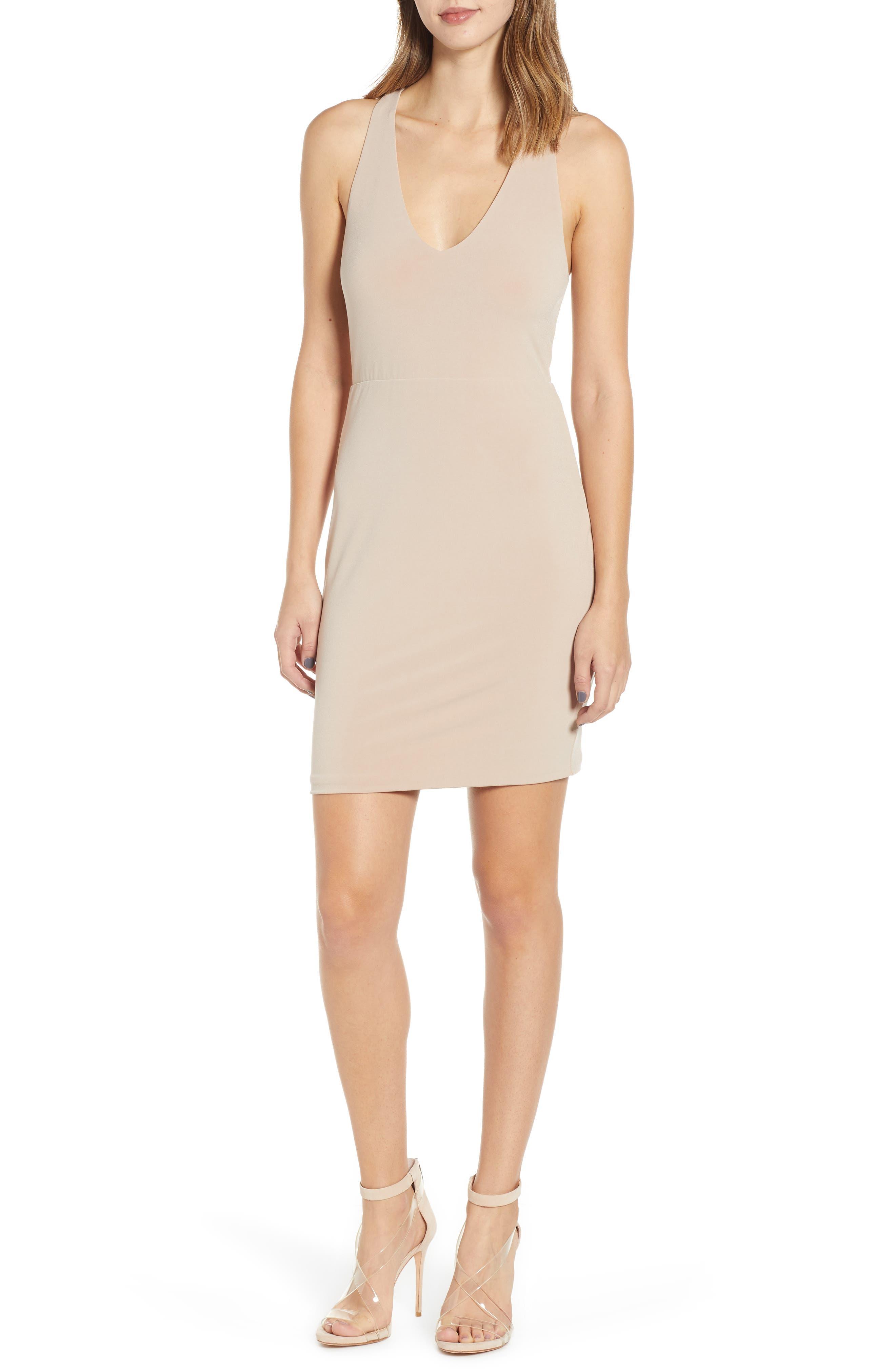 Leith Racerback Body-Con Dress, Brown