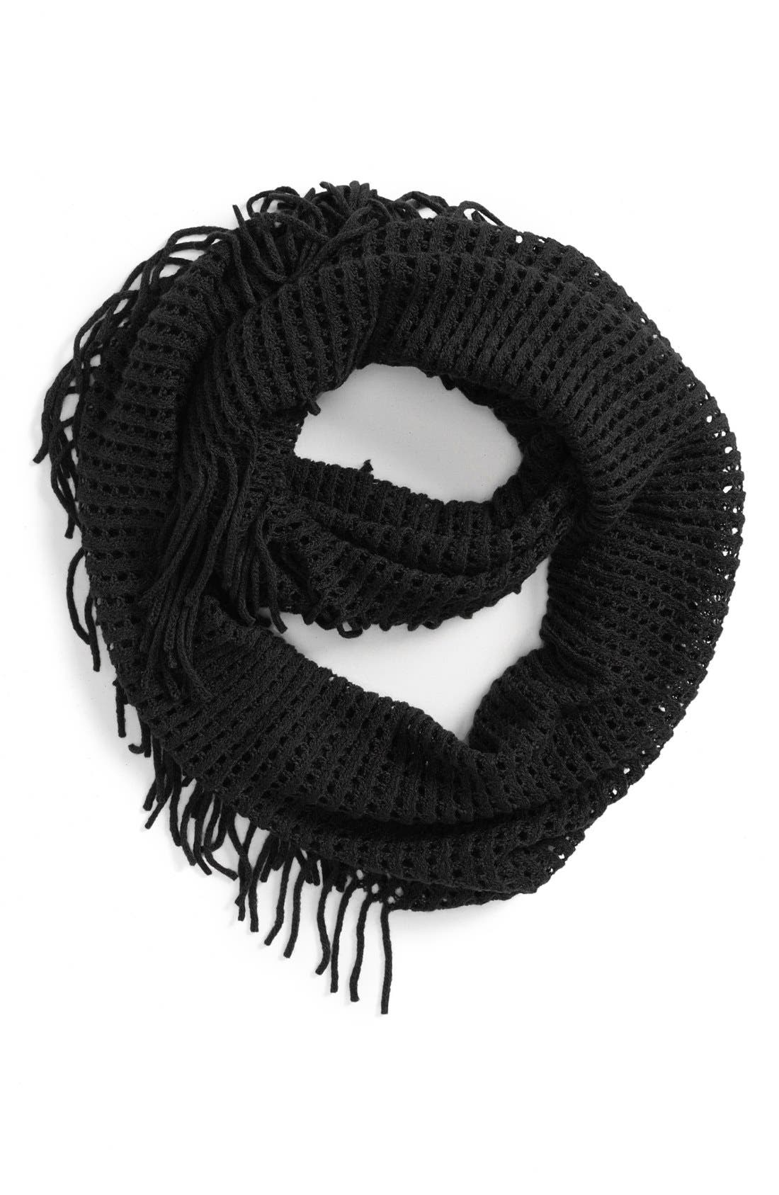 BP.,                             Fringe Trim Infinity Scarf,                             Main thumbnail 1, color,                             001