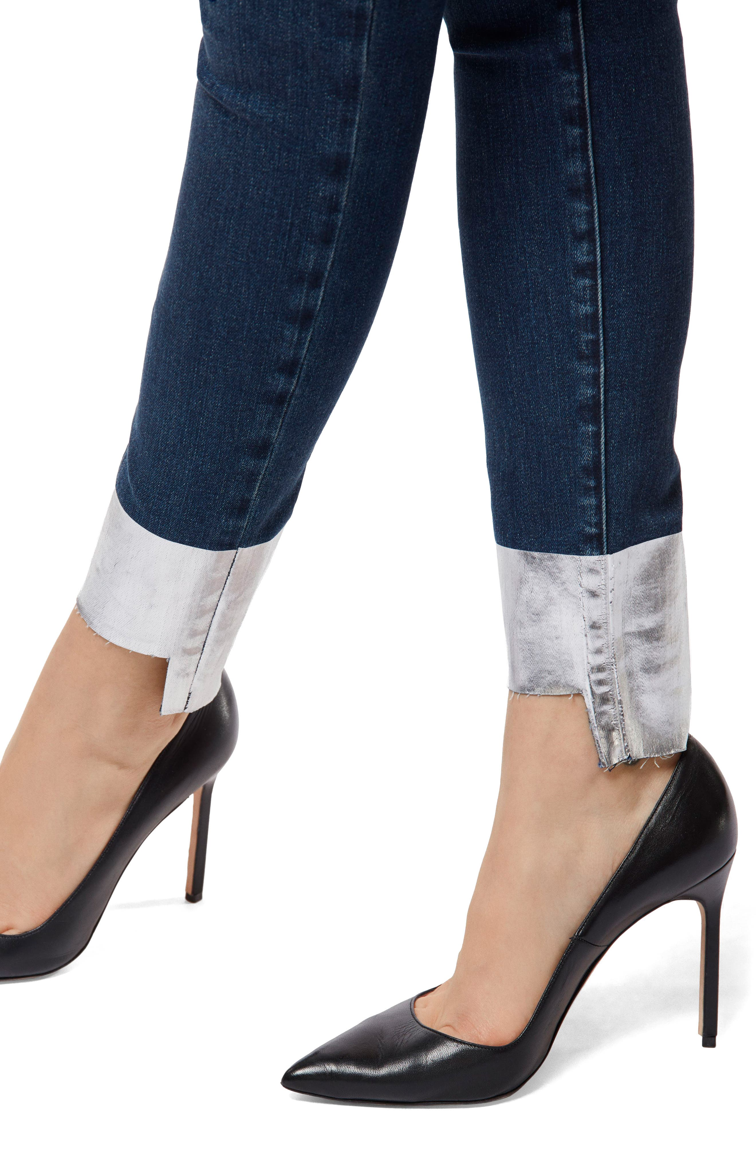 '811' Cutoff Step Hem Skinny Jeans,                             Alternate thumbnail 4, color,                             SILVER POOL