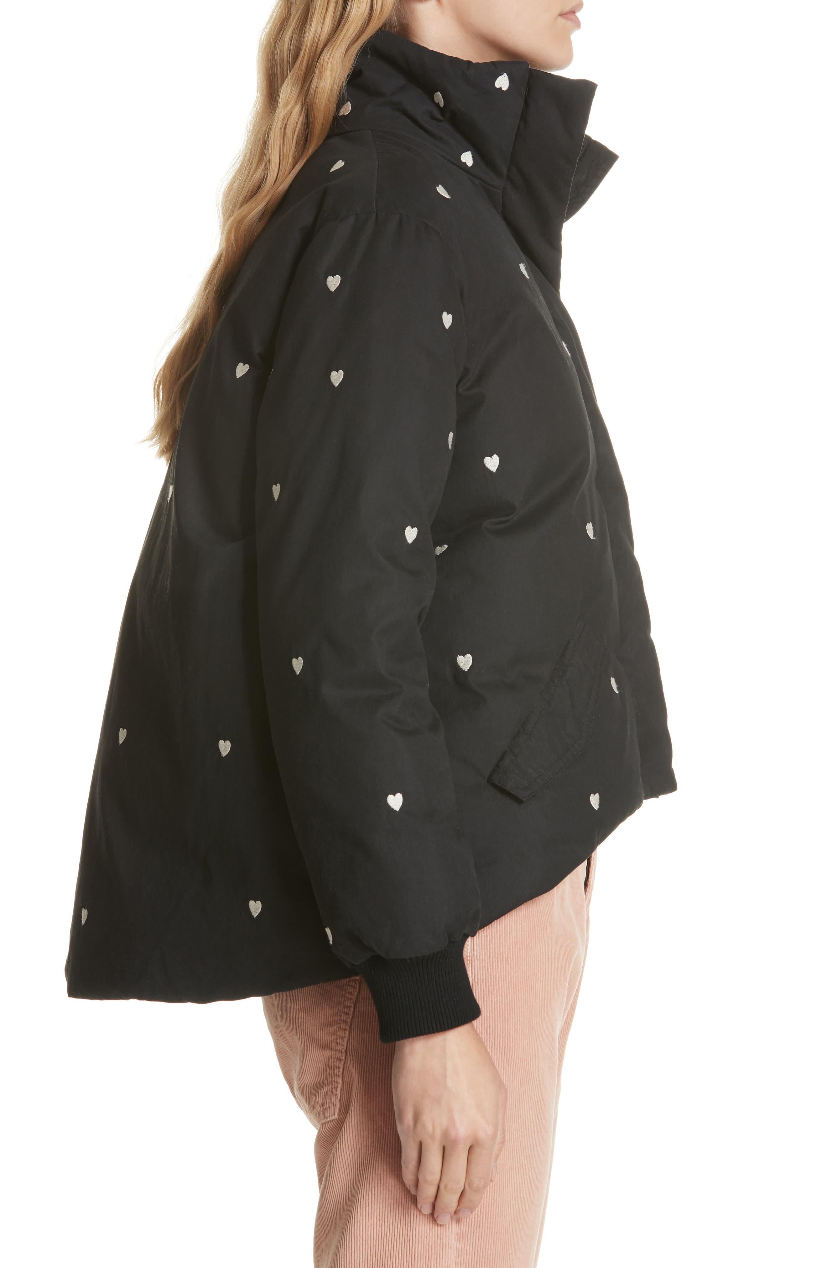 Heart Embroidered Puffer Coat,                             Alternate thumbnail 3, color,                             019