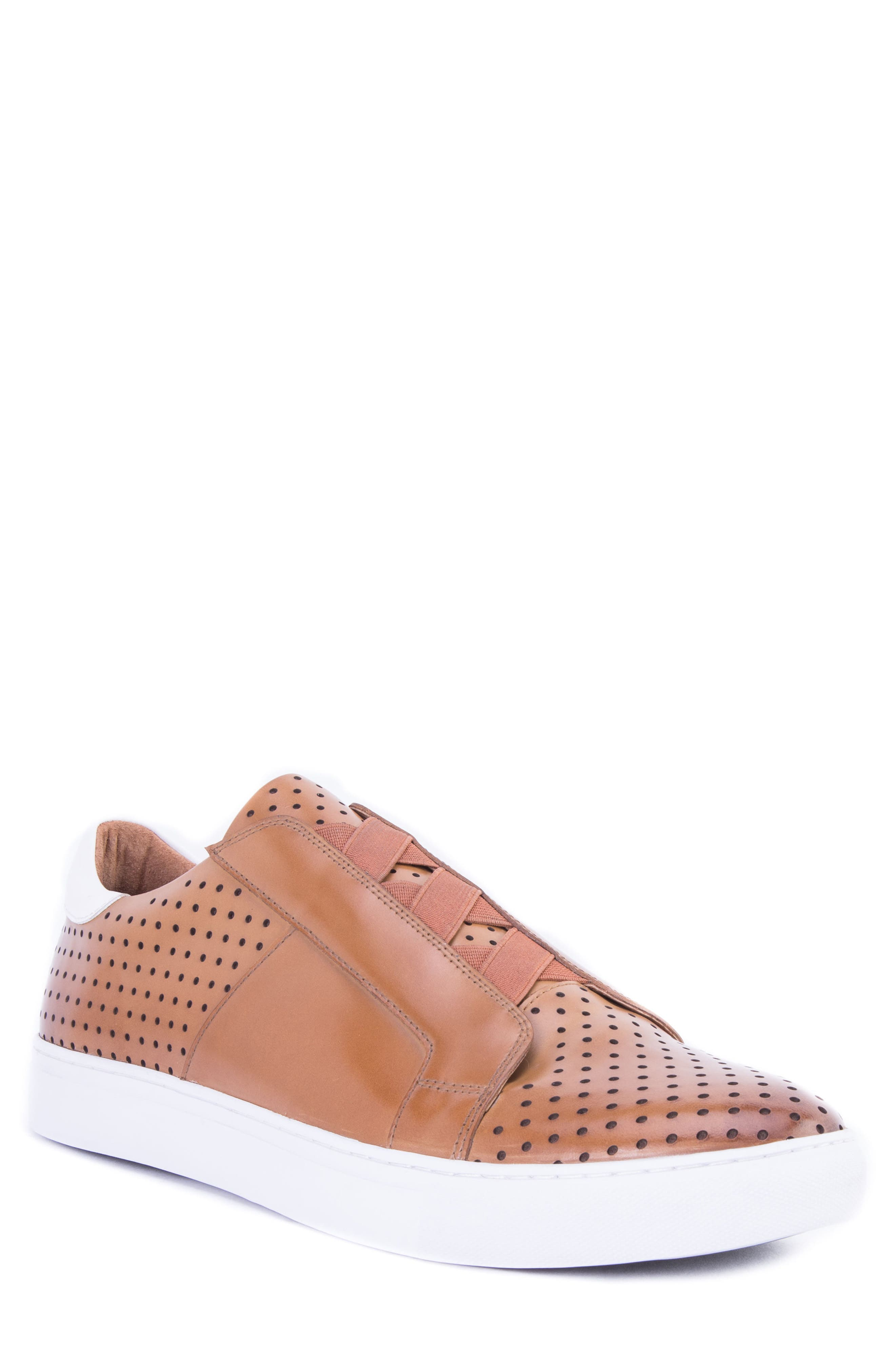 Rowley Perforated Laceless Sneaker,                             Main thumbnail 1, color,                             COGNAC LEATHER