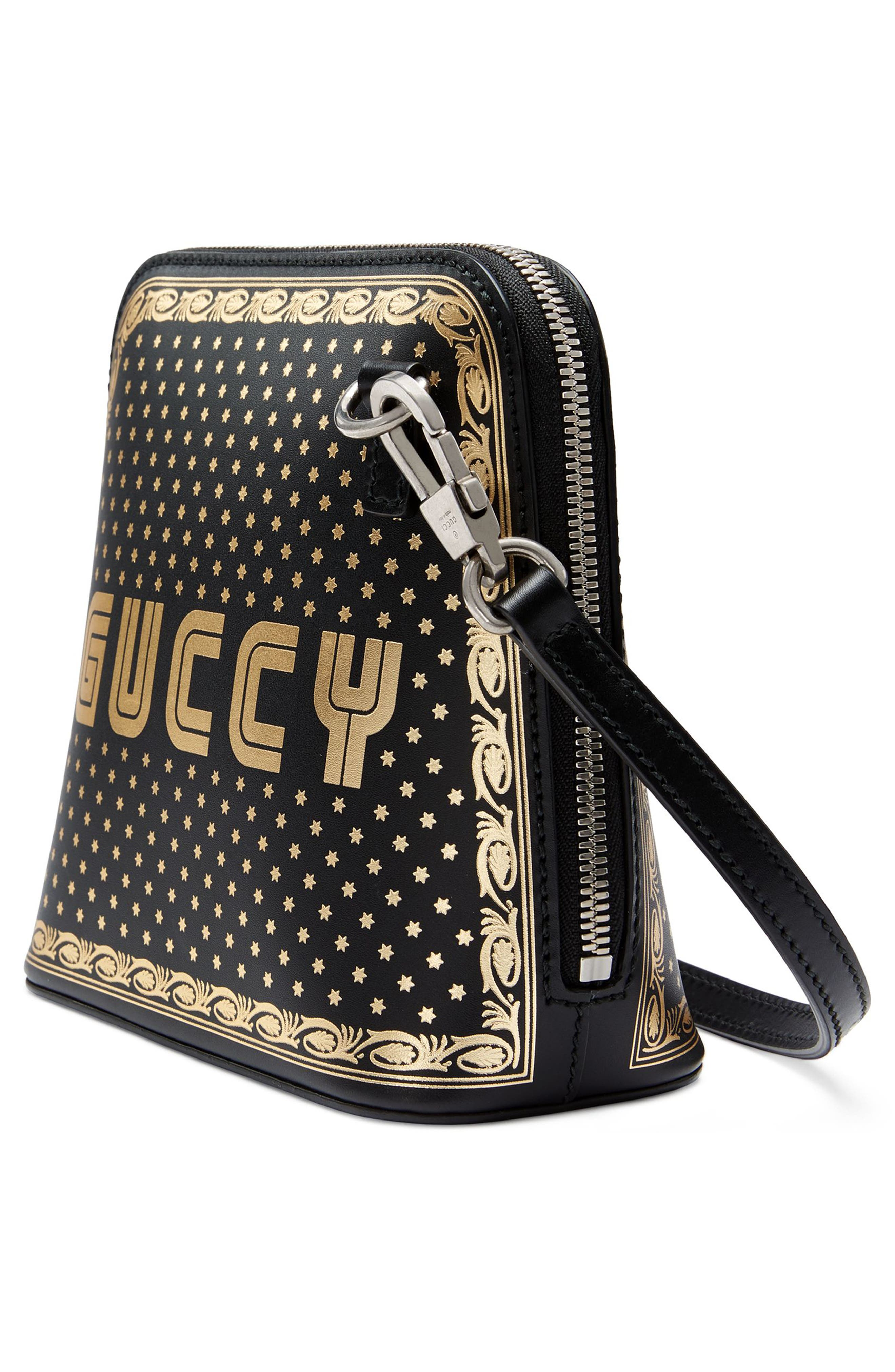 Guccy Logo Moon & Stars Leather Crossbody Bag,                             Alternate thumbnail 4, color,                             NERO/ ORO
