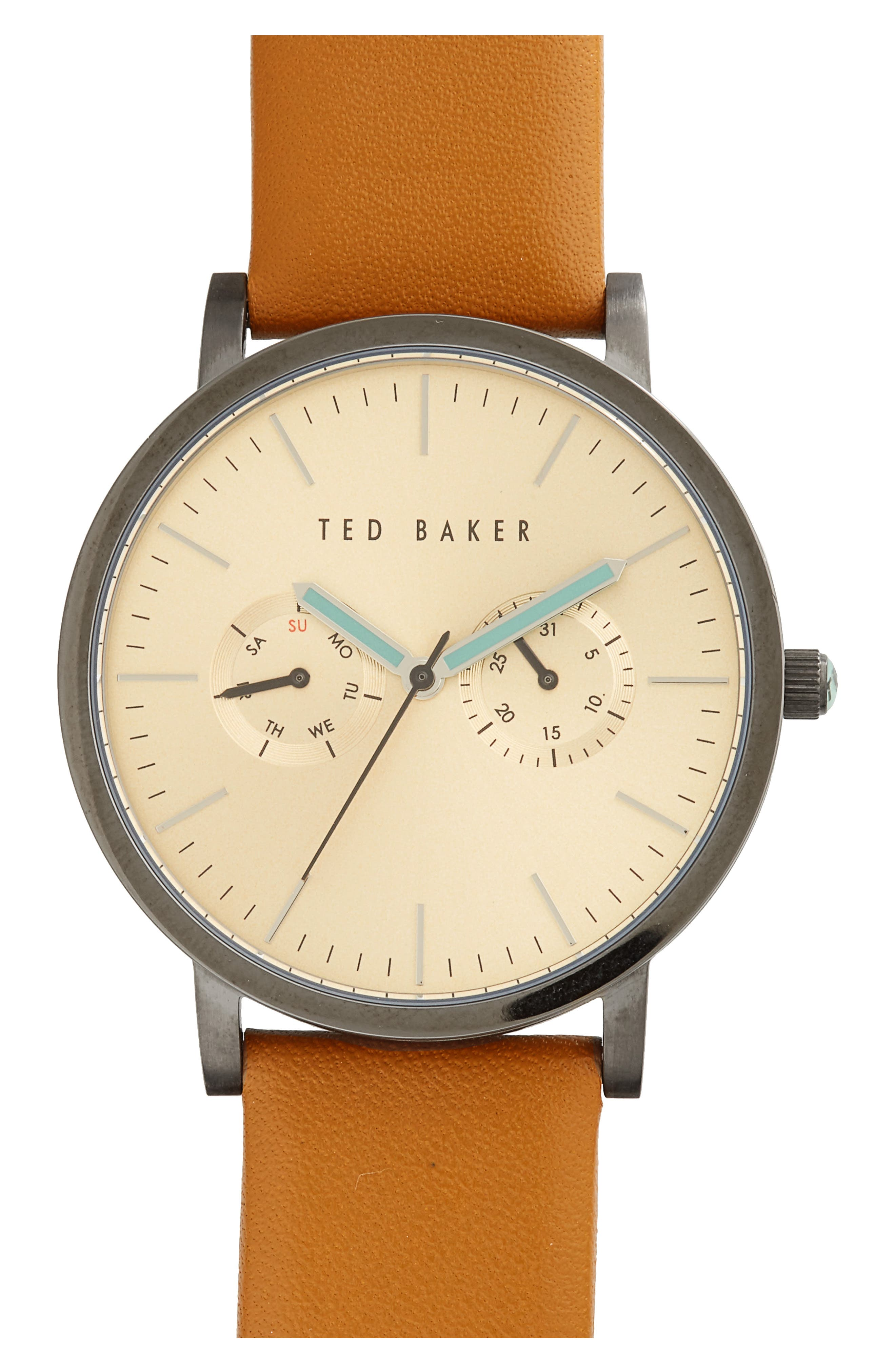 TED BAKER LONDON Multifunction Leather Strap Watch, 40mm, Main, color, 200
