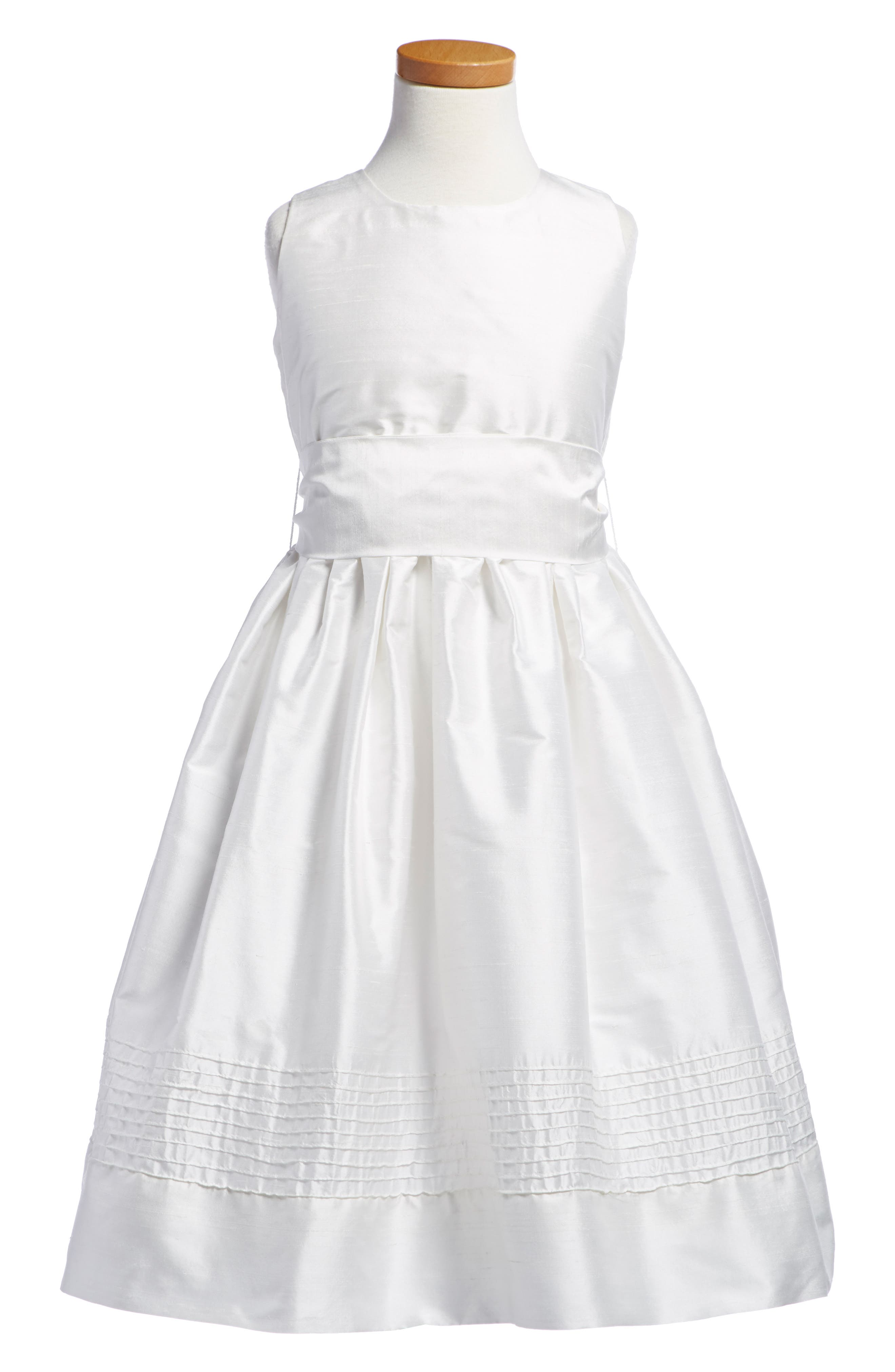 Timeless Silk Dress,                             Alternate thumbnail 4, color,                             WHITE