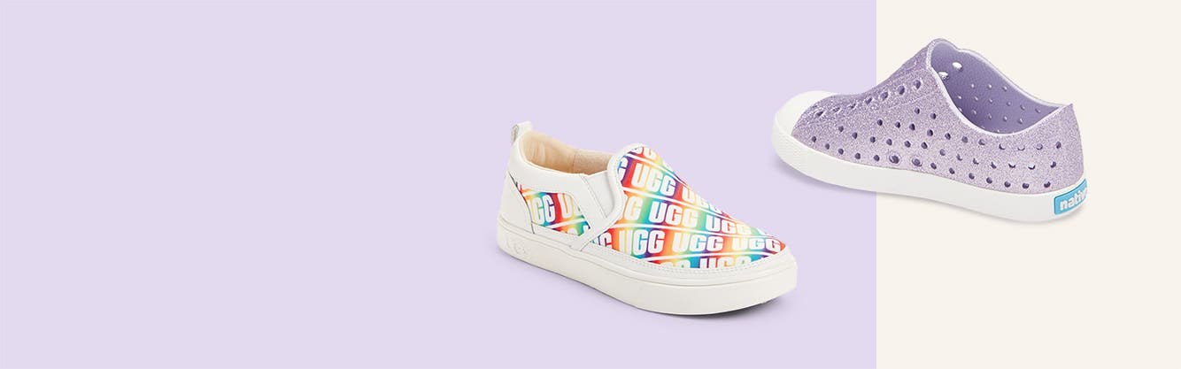 Girls' rainbow UGG slip-on sneakers and purple Native shoes.