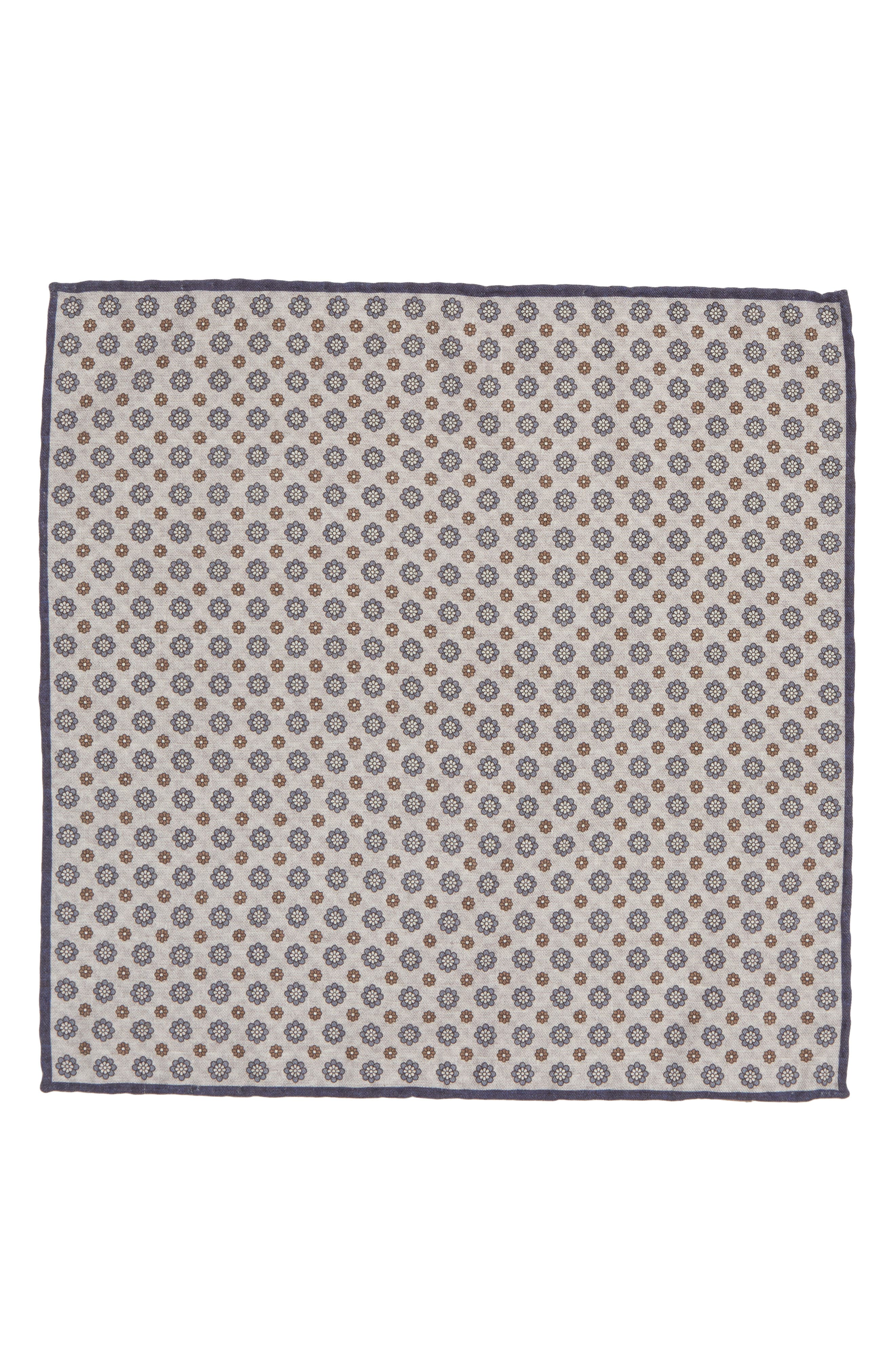 Medallion Wool & Cotton Pocket Square,                             Alternate thumbnail 2, color,                             GREY/ BLUE