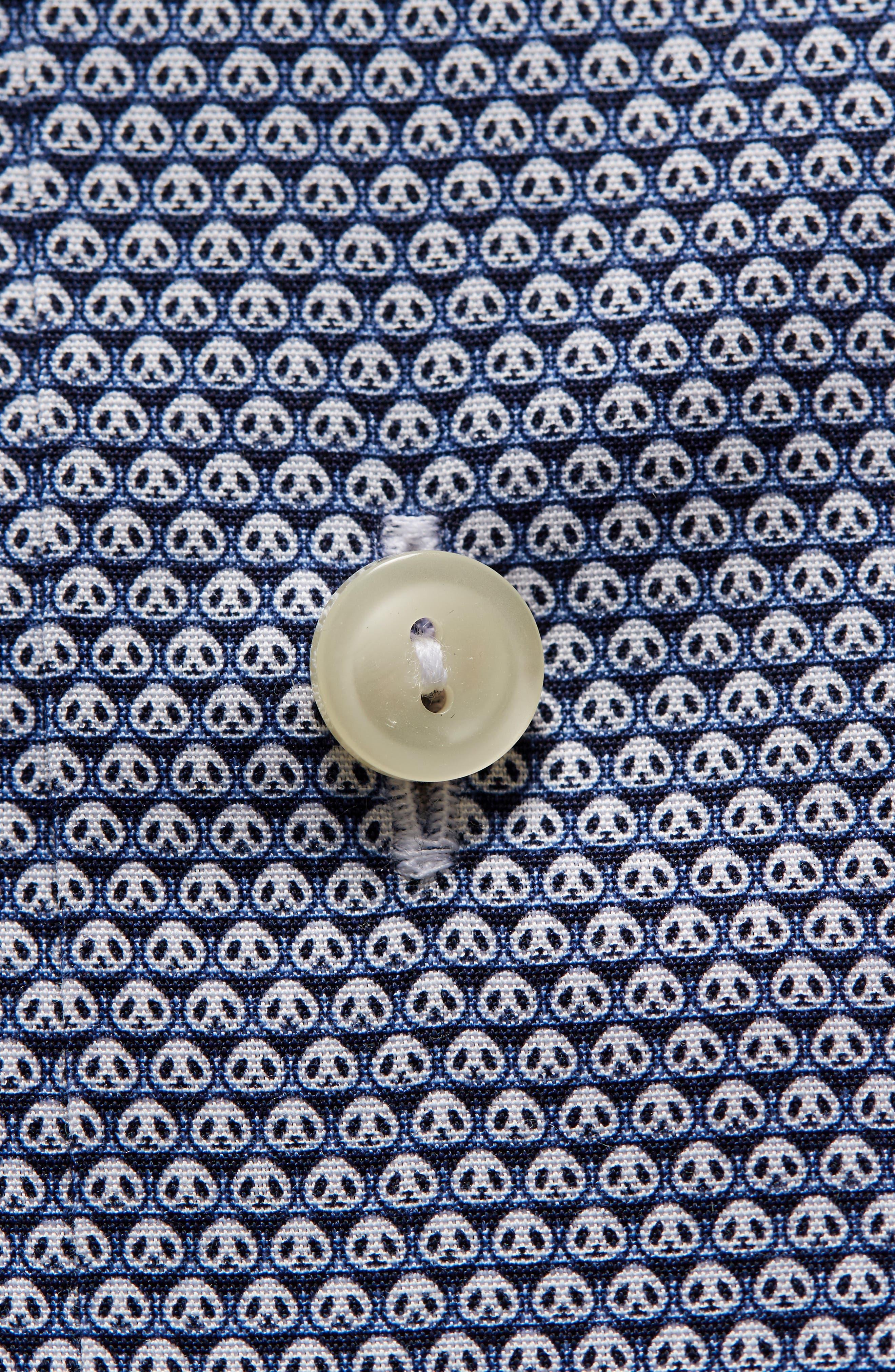 Slim Fit Panda Print Dress Shirt,                             Alternate thumbnail 2, color,                             BLUE