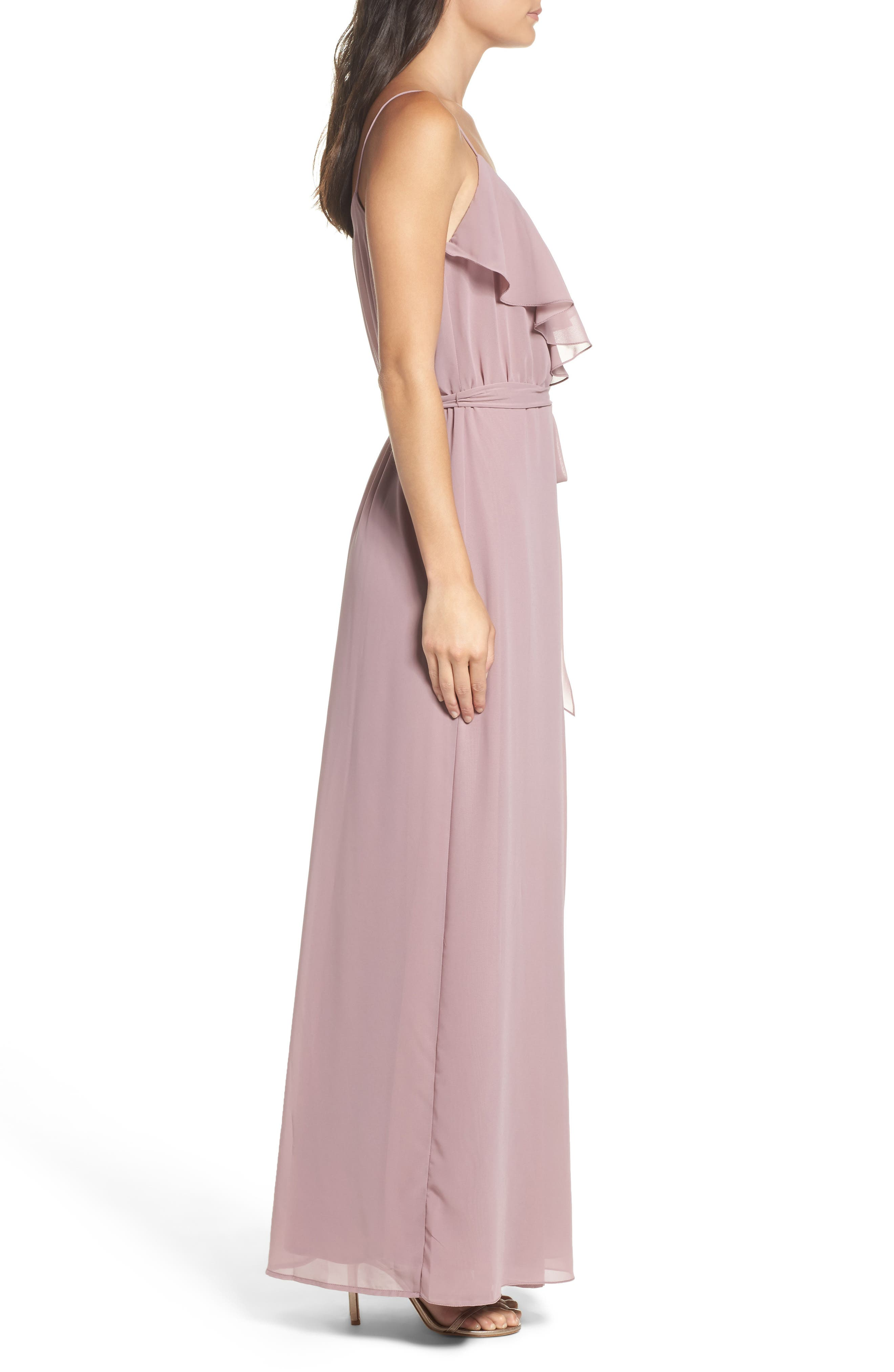 'Drew' Ruffle Front Chiffon Gown,                             Alternate thumbnail 31, color,