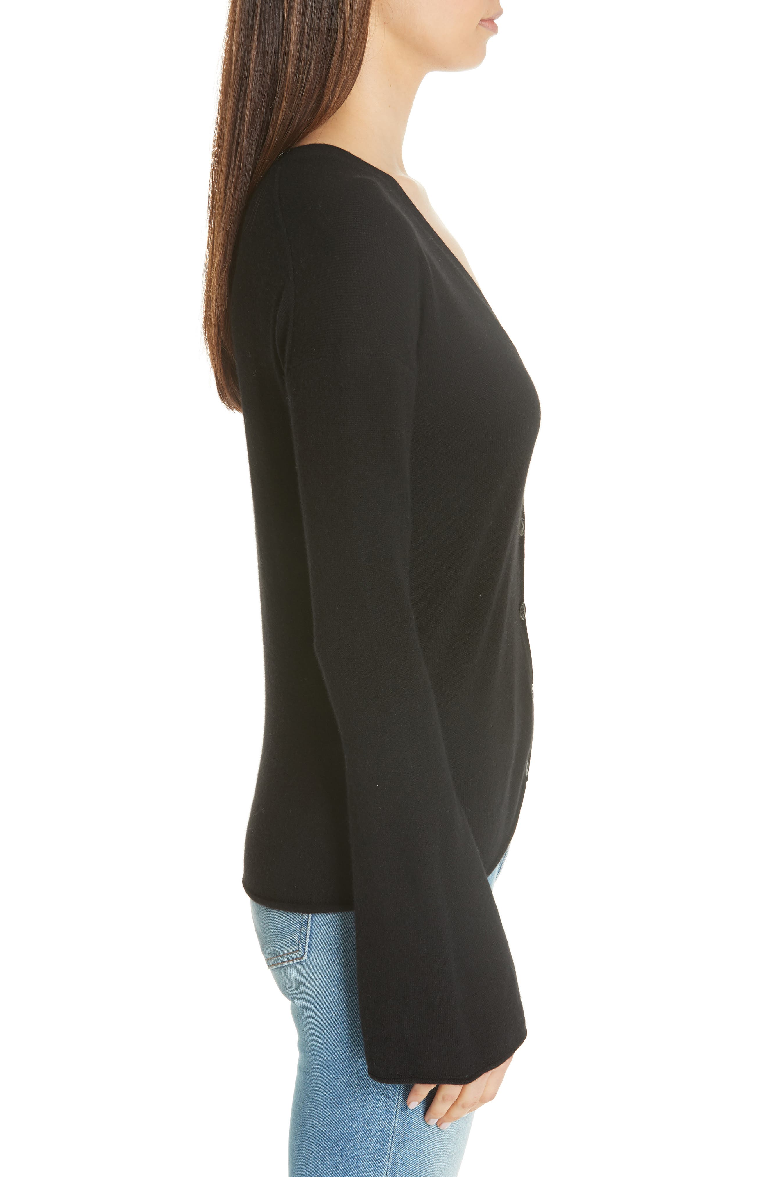 Bell Sleeve Cashmere Cardigan,                             Alternate thumbnail 3, color,                             001