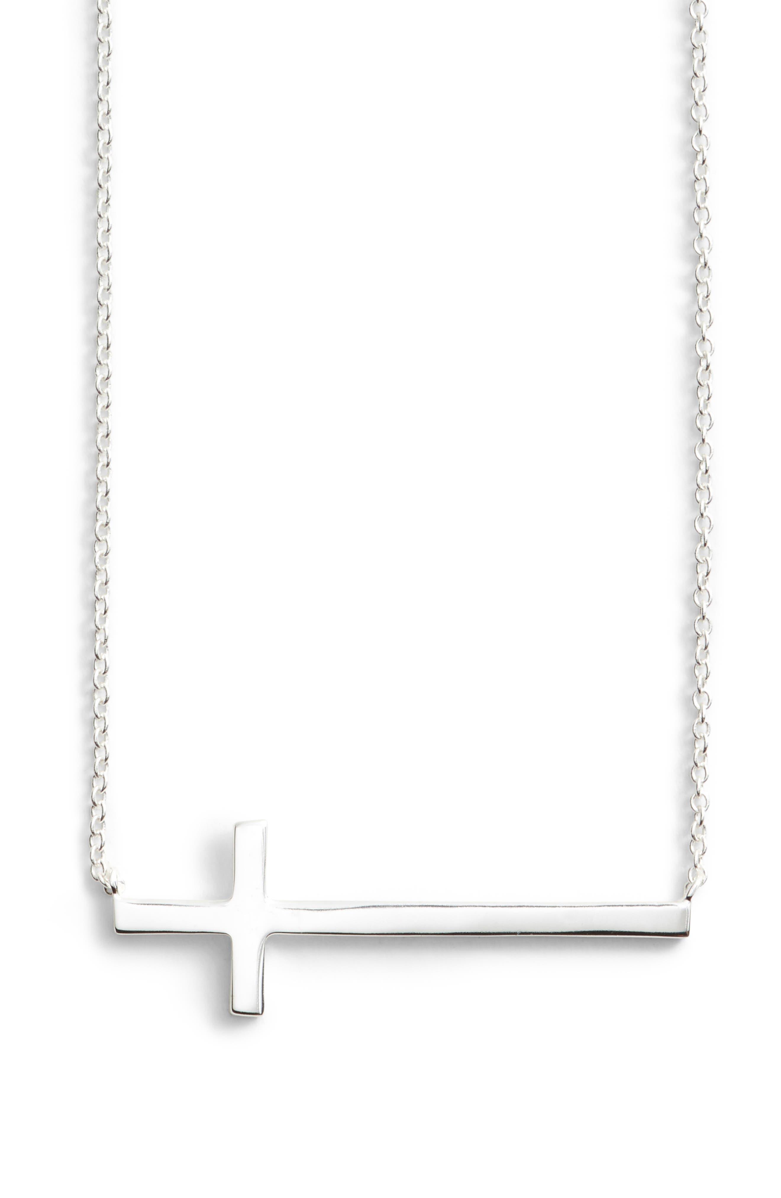 Modern Sideways Cross Pendant Necklace,                             Main thumbnail 1, color,                             SILVER