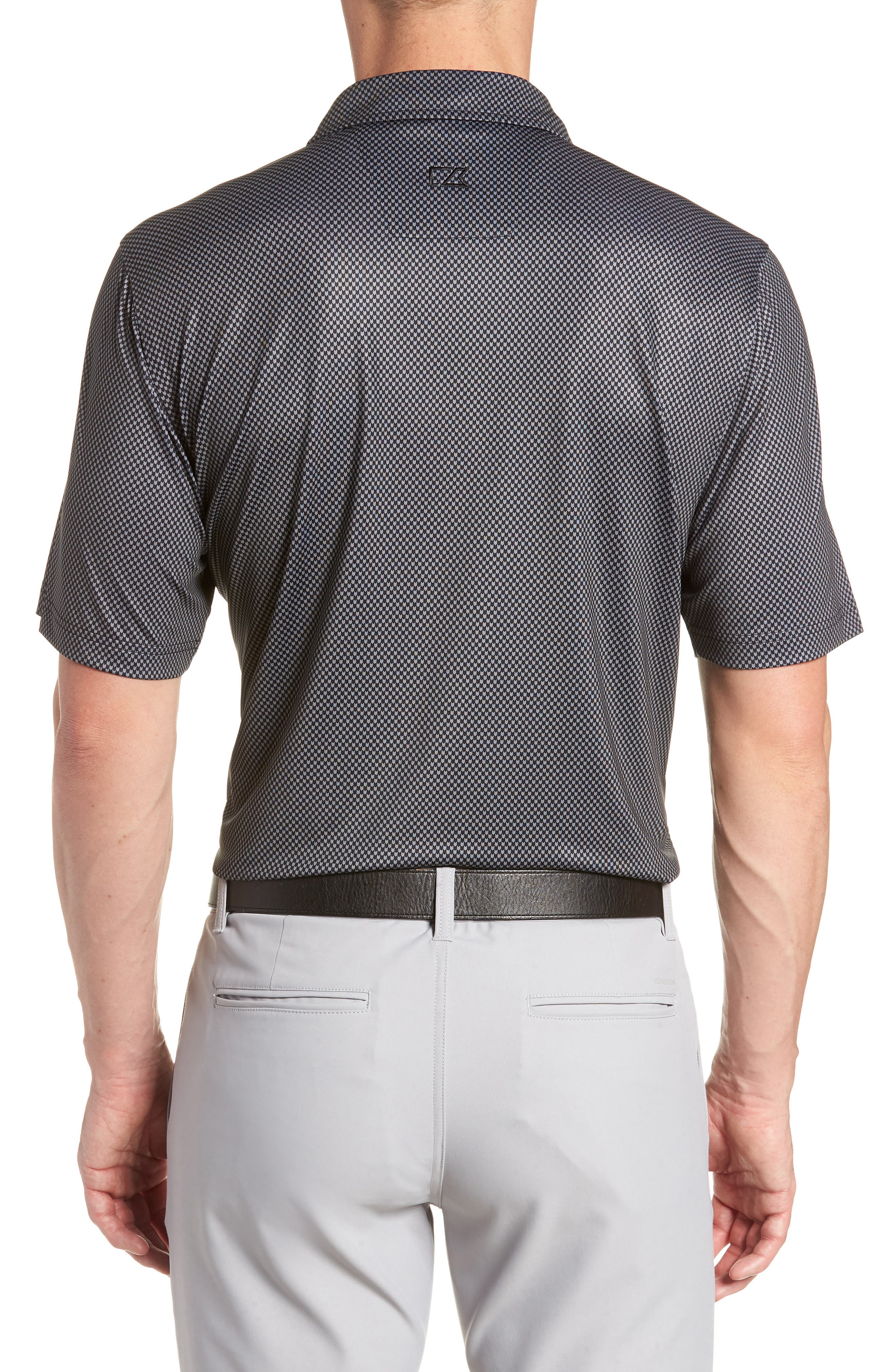 Chad Micro Pattern Polo,                             Alternate thumbnail 2, color,                             BLACK