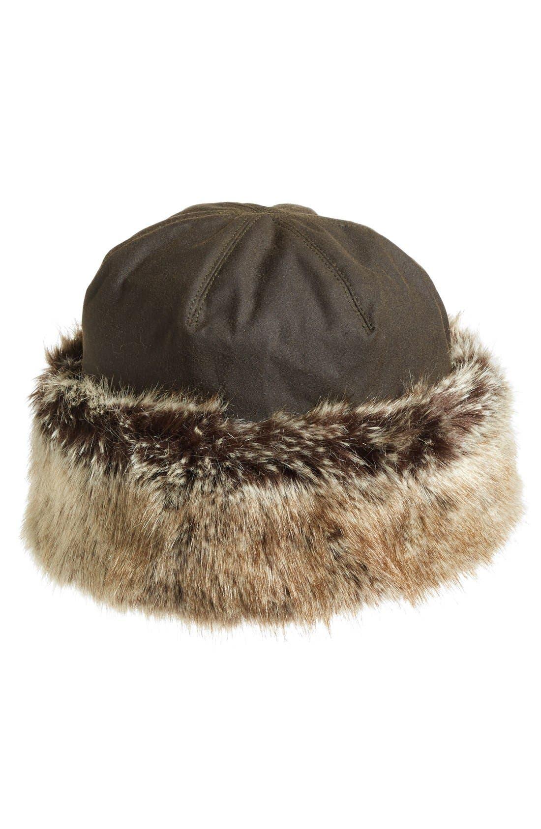 'Ambush' Waxed Cotton Hat with Faux Fur Trim,                             Main thumbnail 1, color,                             OLIVE