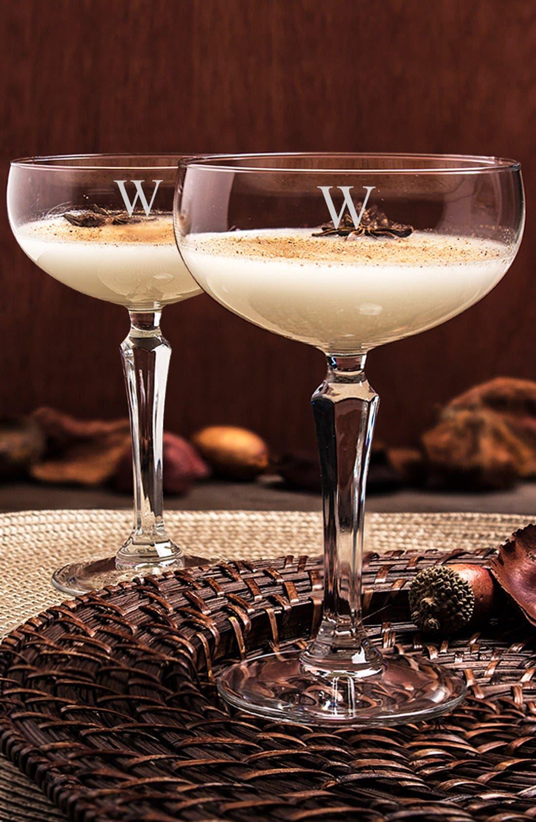 Monogram Coupe Cocktail/Champagne Glasses,                             Main thumbnail 1, color,                             123
