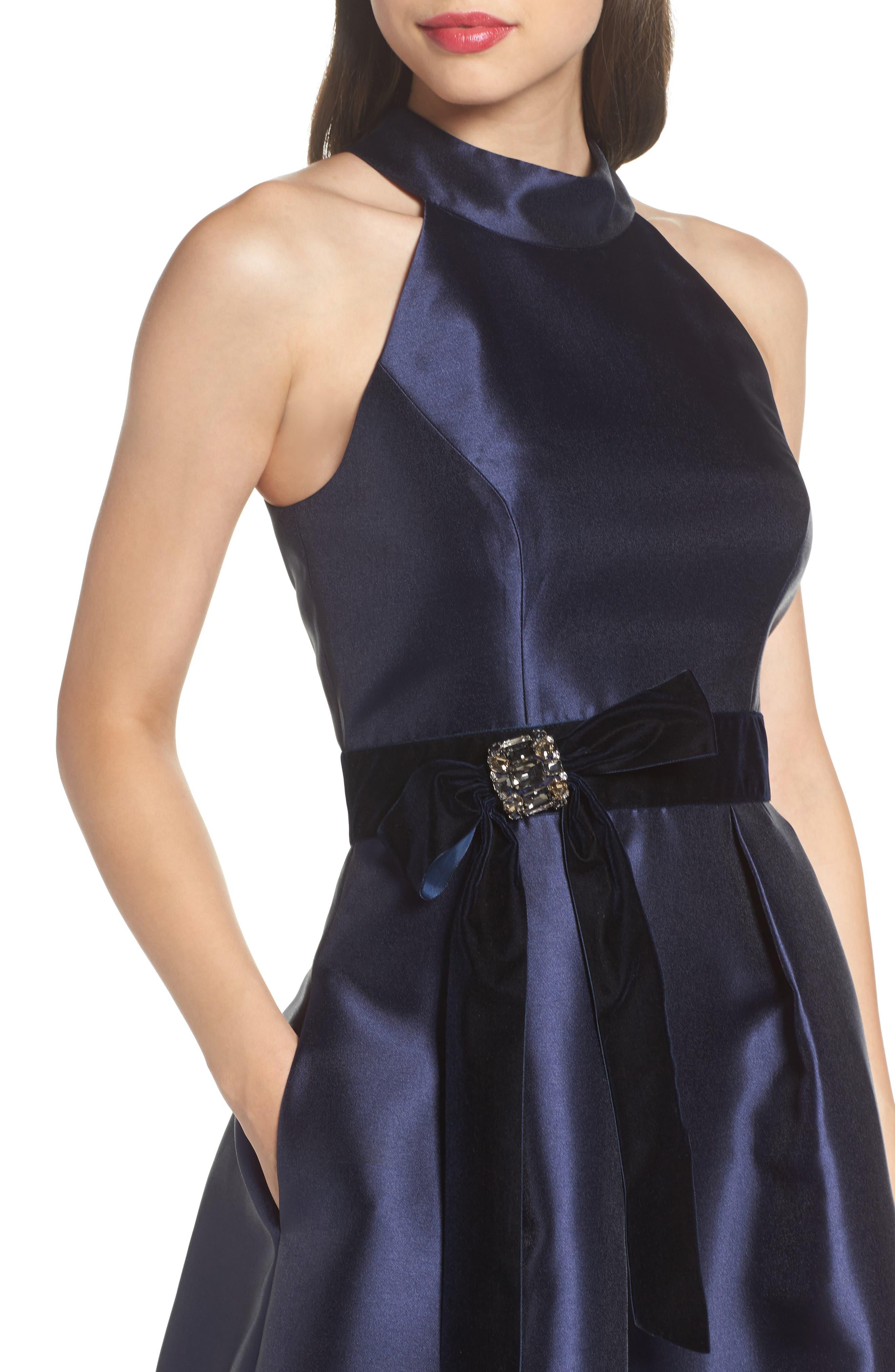Halter Fit & Flare Dress,                             Alternate thumbnail 4, color,                             410