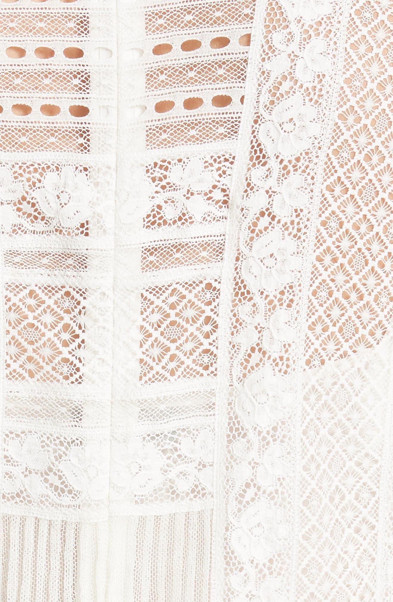 Chanella Lace Midi Dress,                             Alternate thumbnail 5, color,                             100