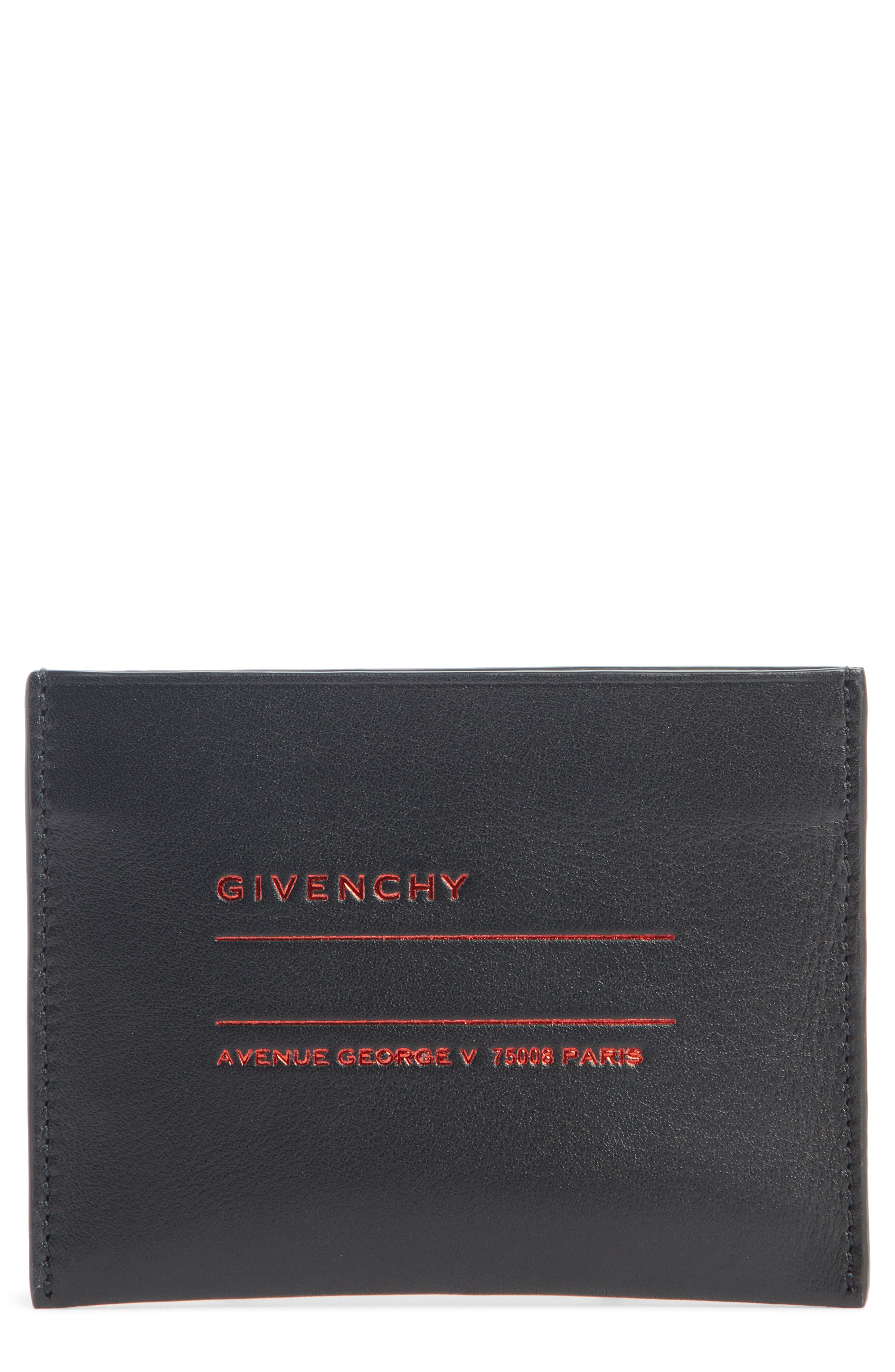 Address Leather Card Case,                         Main,                         color, BLACK