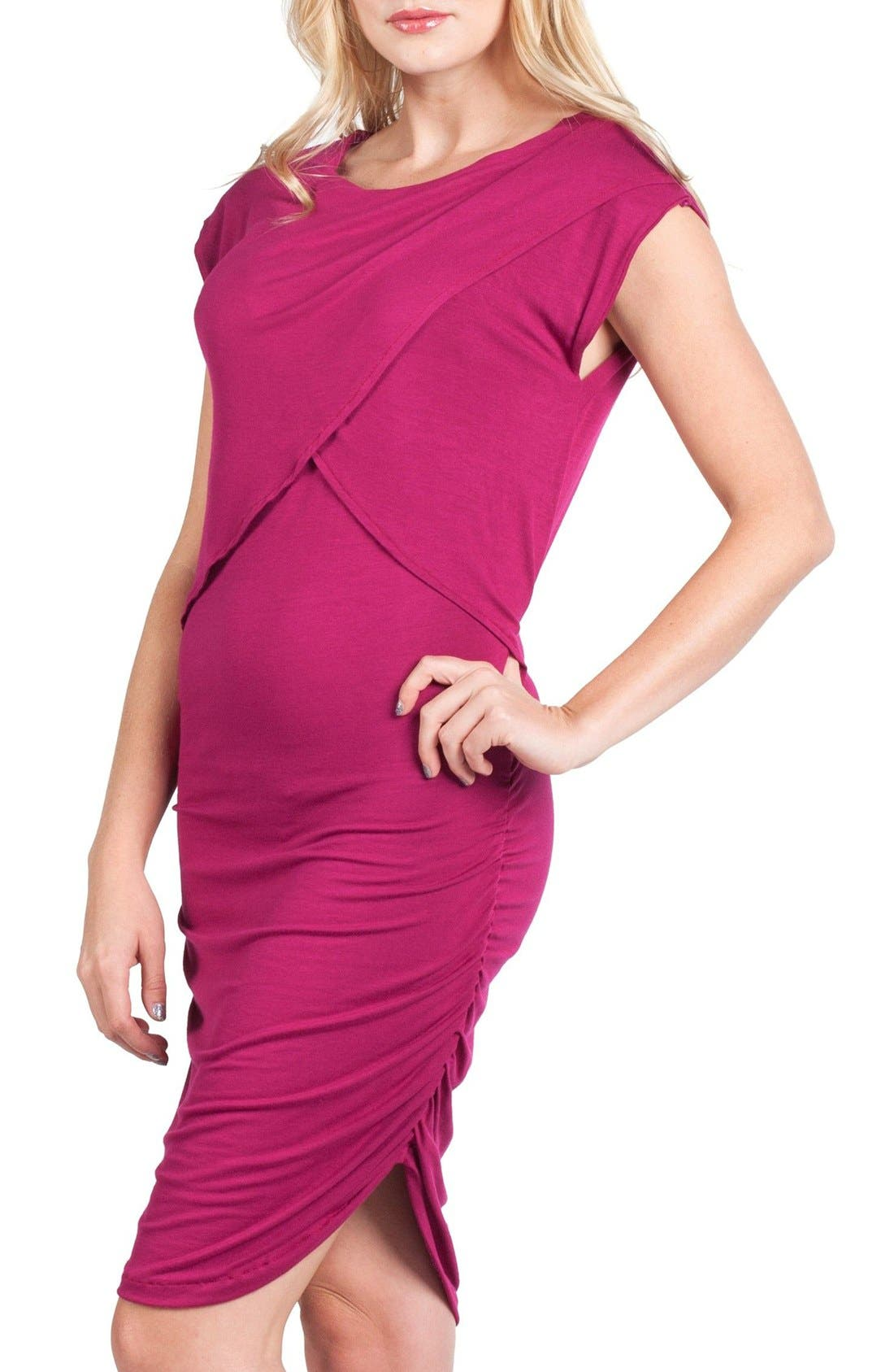 Miami Crossover Maternity/Nursing Sheath Dress,                             Alternate thumbnail 2, color,                             MAGENTA