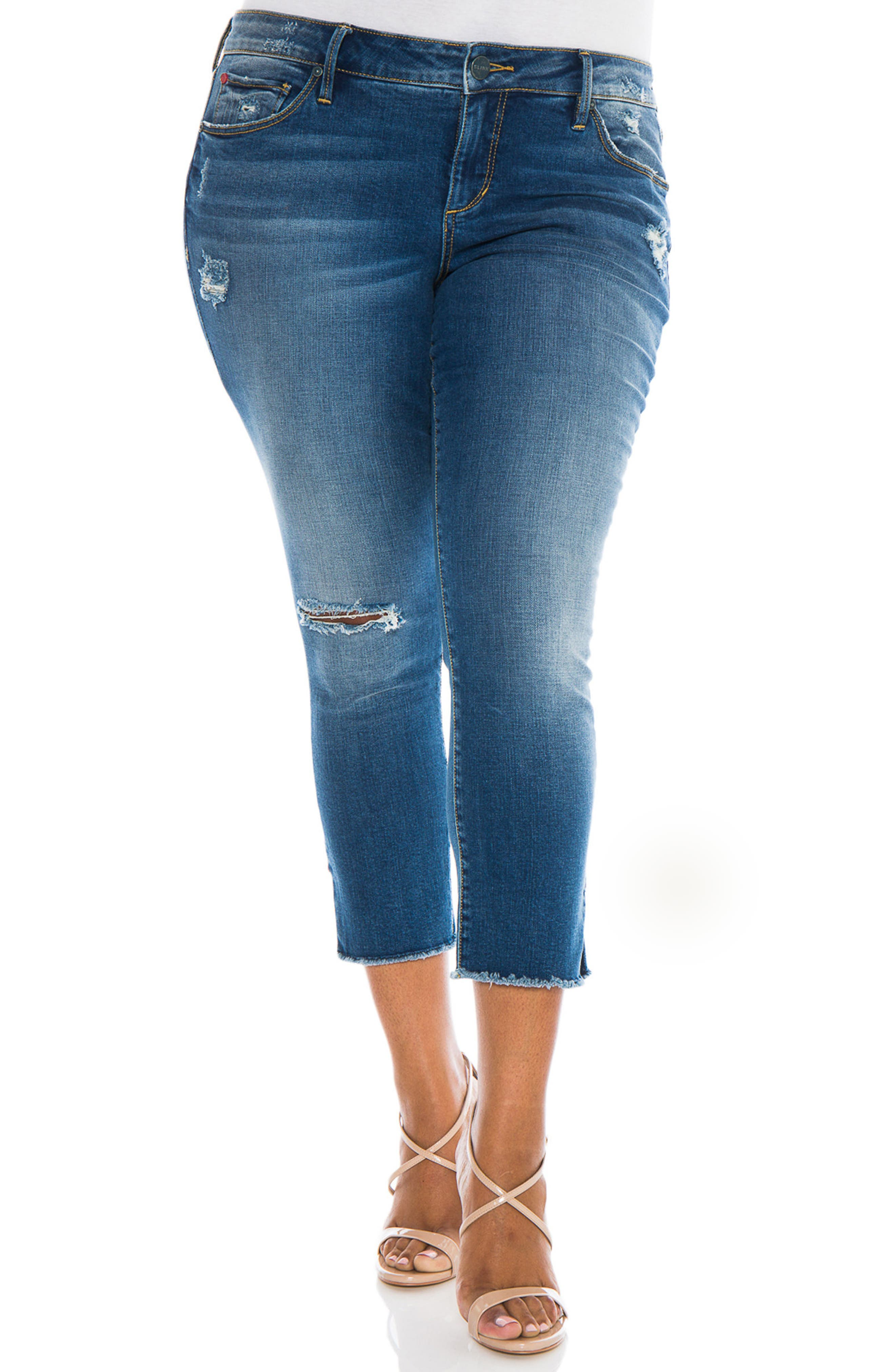 Frayed Crop Skinny Jeans,                             Main thumbnail 1, color,                             CARALYN