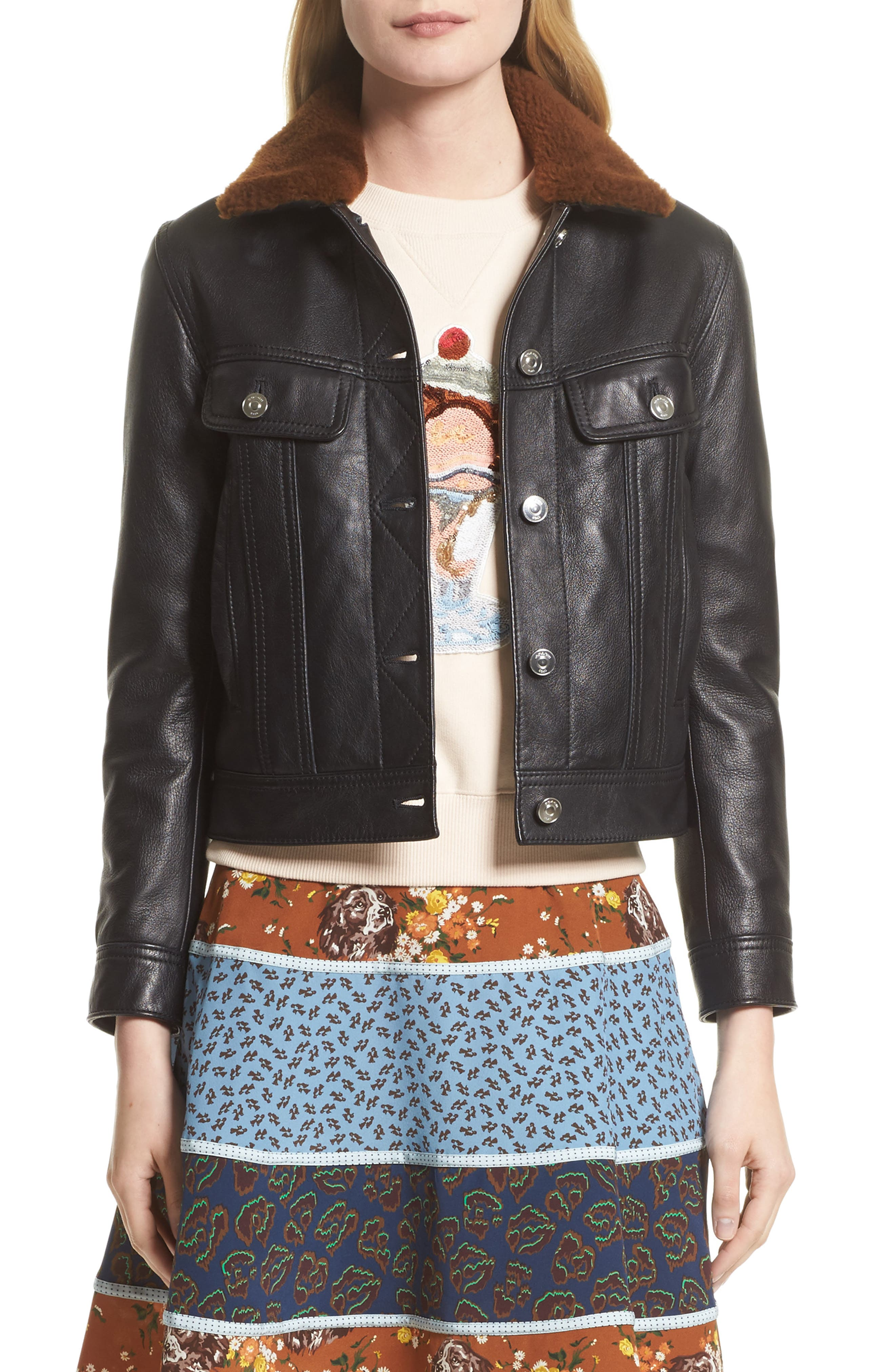 Leather Trucker Jacket with Removable Genuine Shearling Collar,                         Main,                         color,