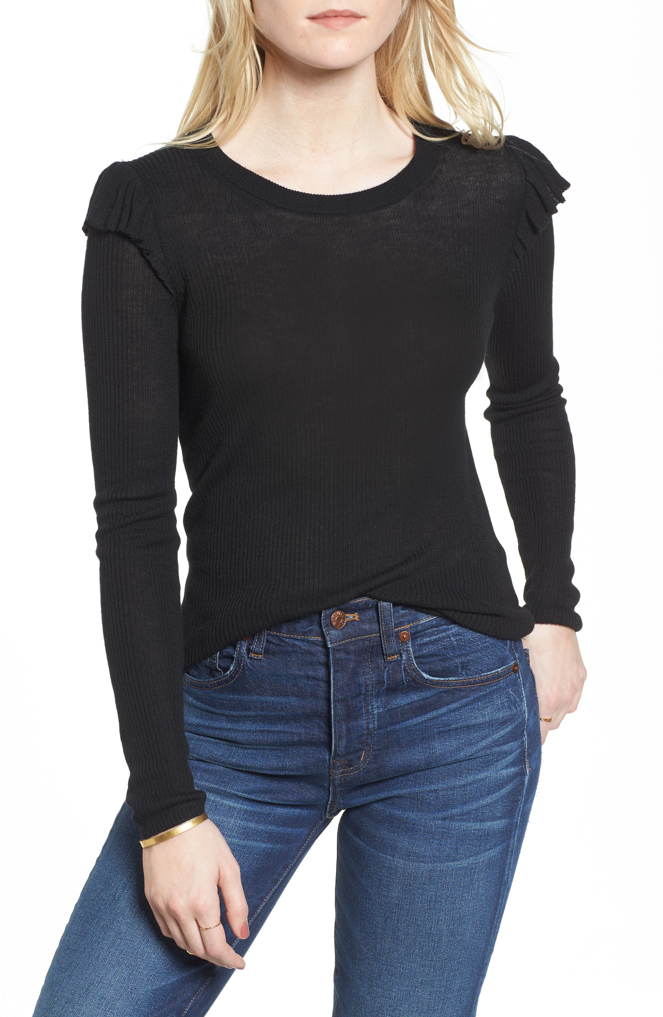 Ruffle Sleeve Pullover Sweater,                             Main thumbnail 1, color,