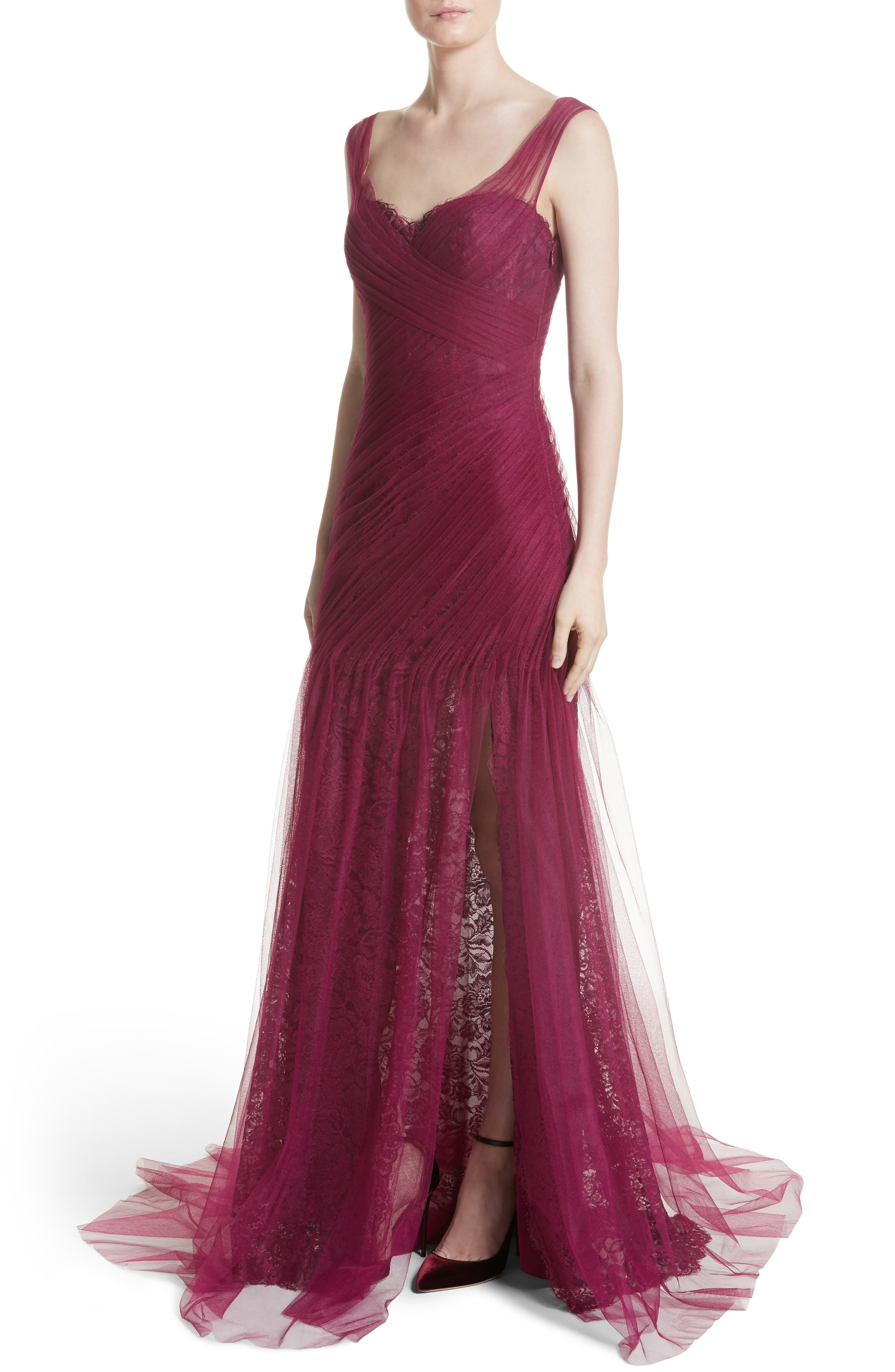 Draped Tulle & Lace Gown,                             Alternate thumbnail 4, color,                             930