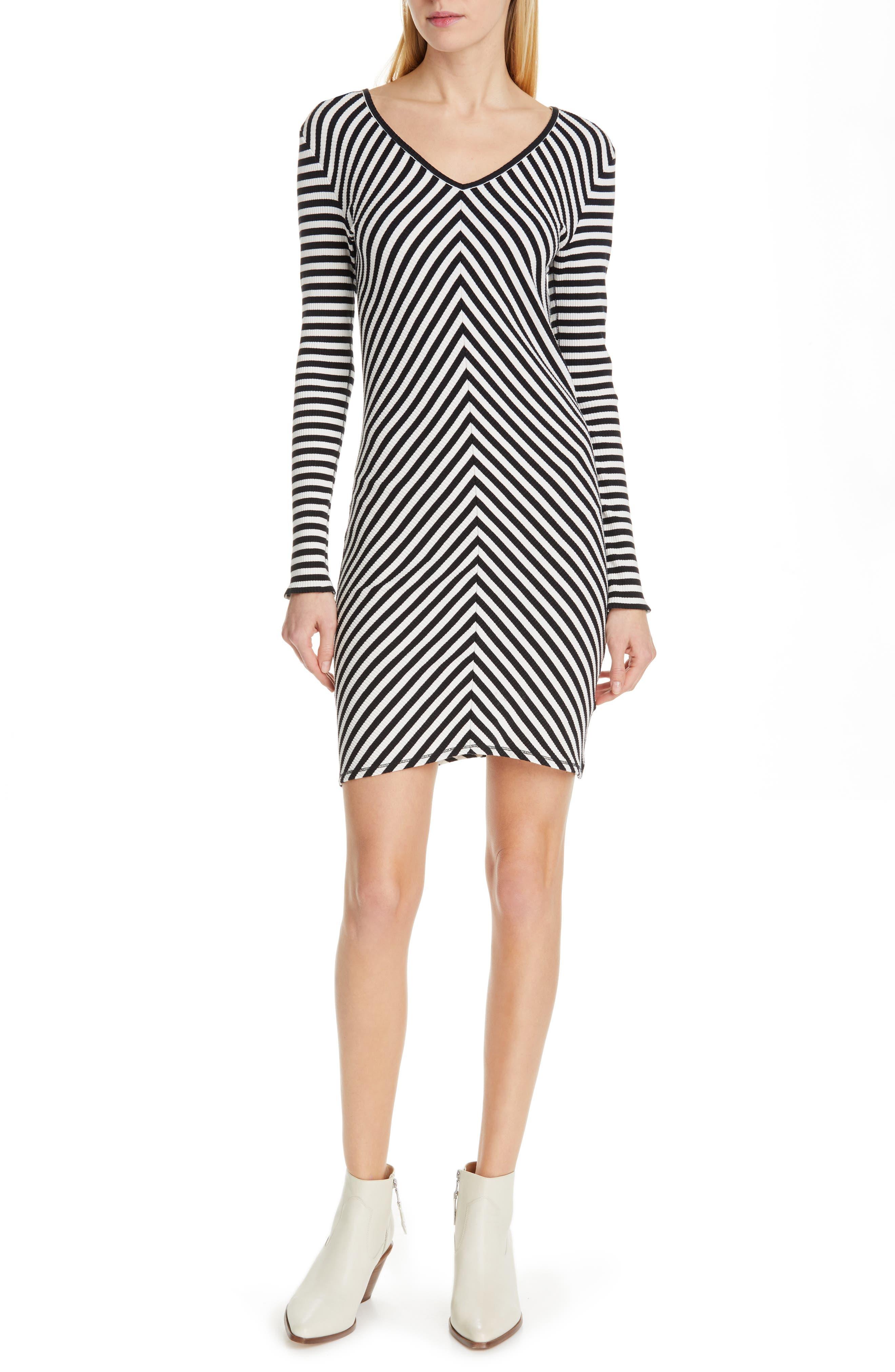 Rag & Bone/jean Halifax Ribbed Minidress, Black