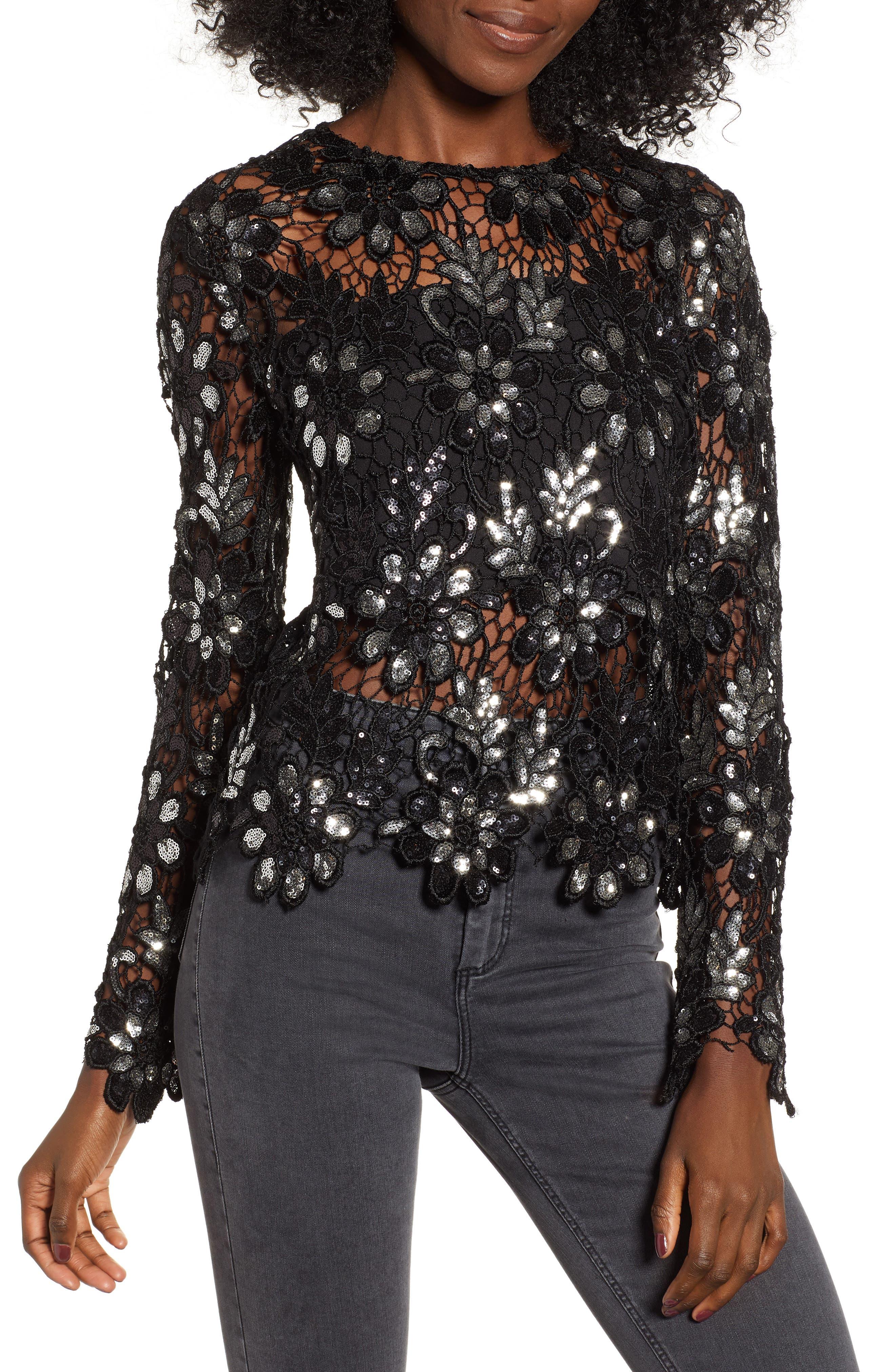 Sequin Lace Top,                         Main,                         color, 001