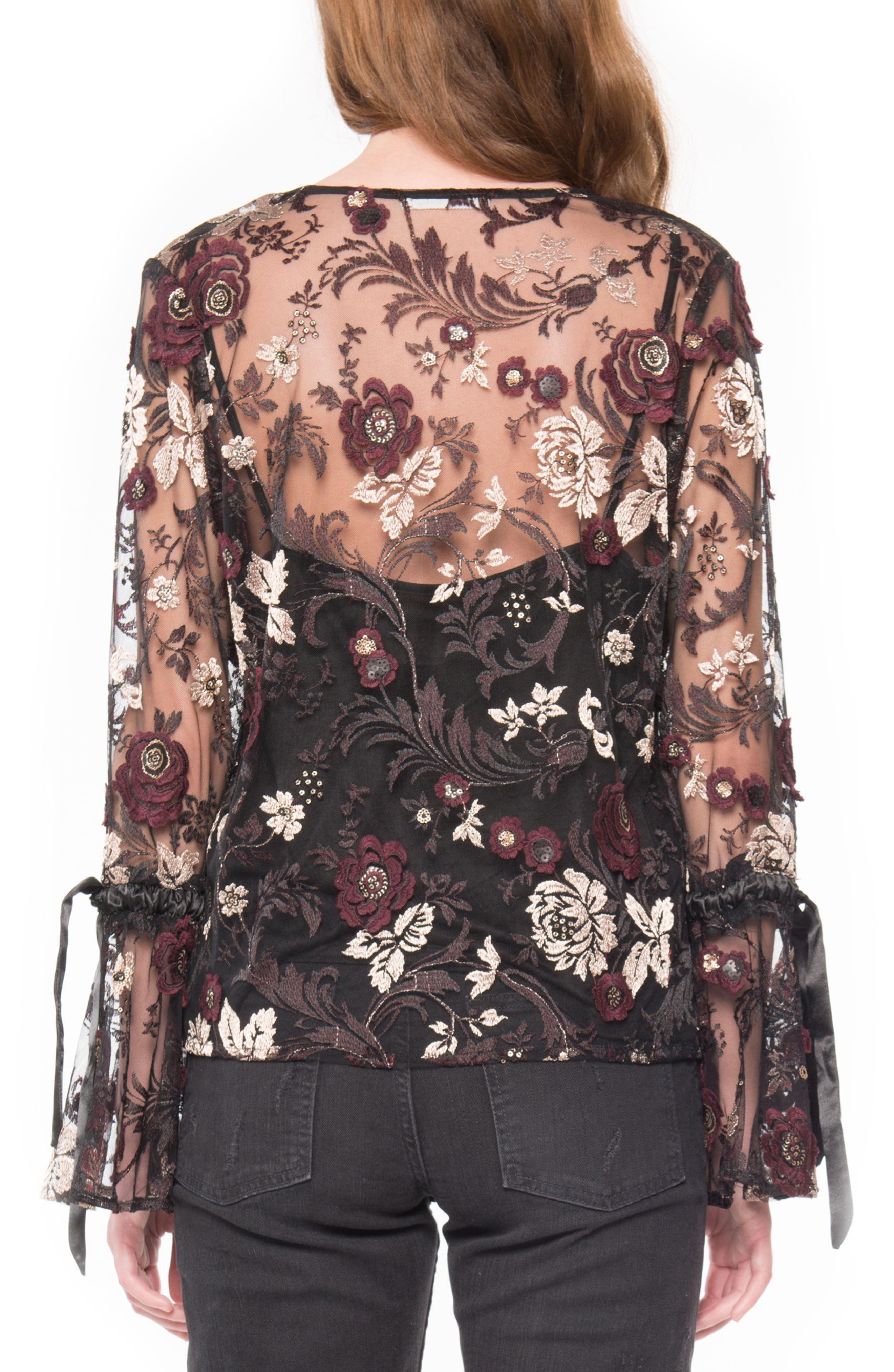 Embroidered Mesh Blouse,                             Alternate thumbnail 2, color,                             001