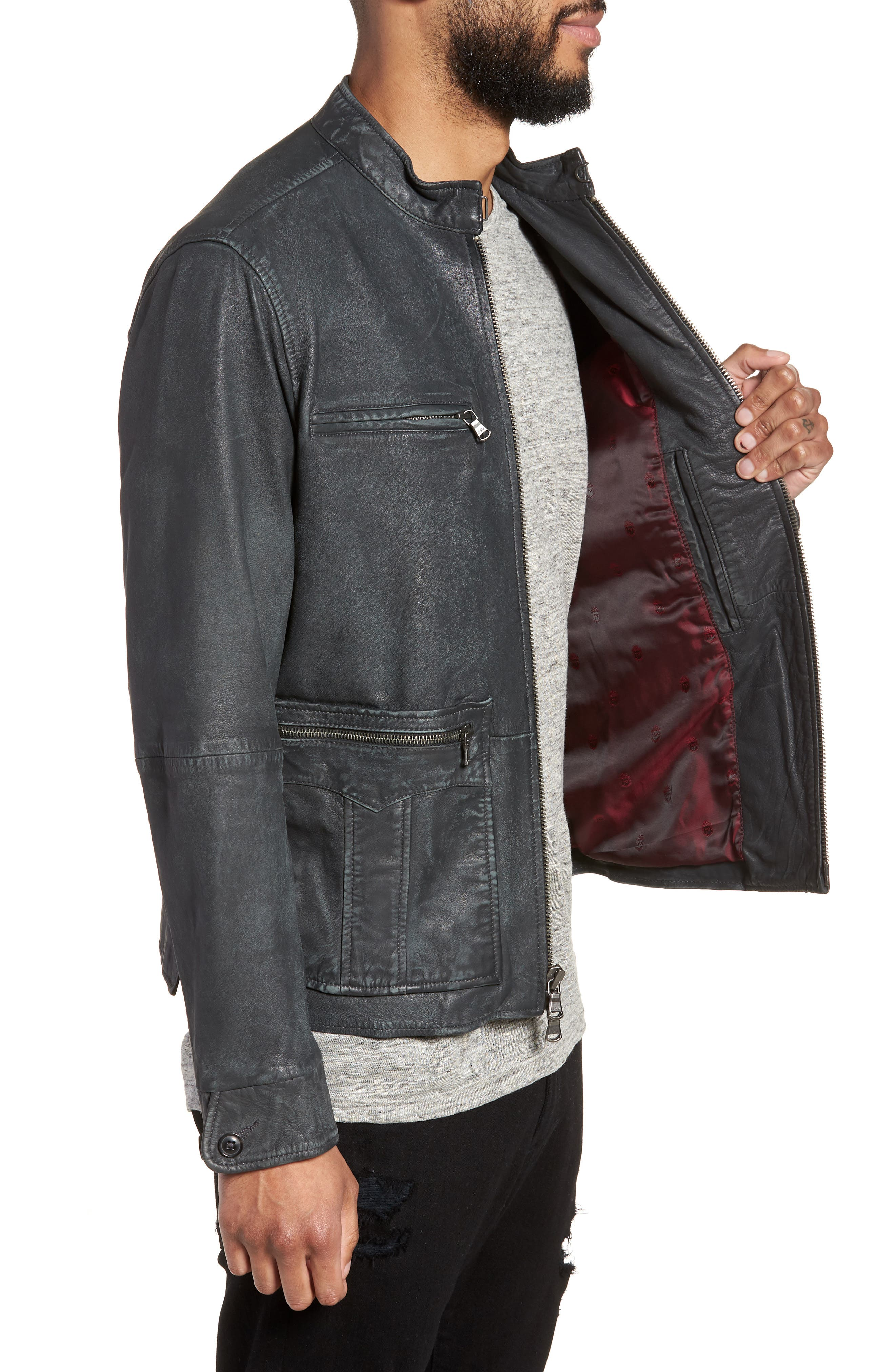 John Varvatos x Nick Jonas Modern Moto Jacket,                             Alternate thumbnail 3, color,                             020