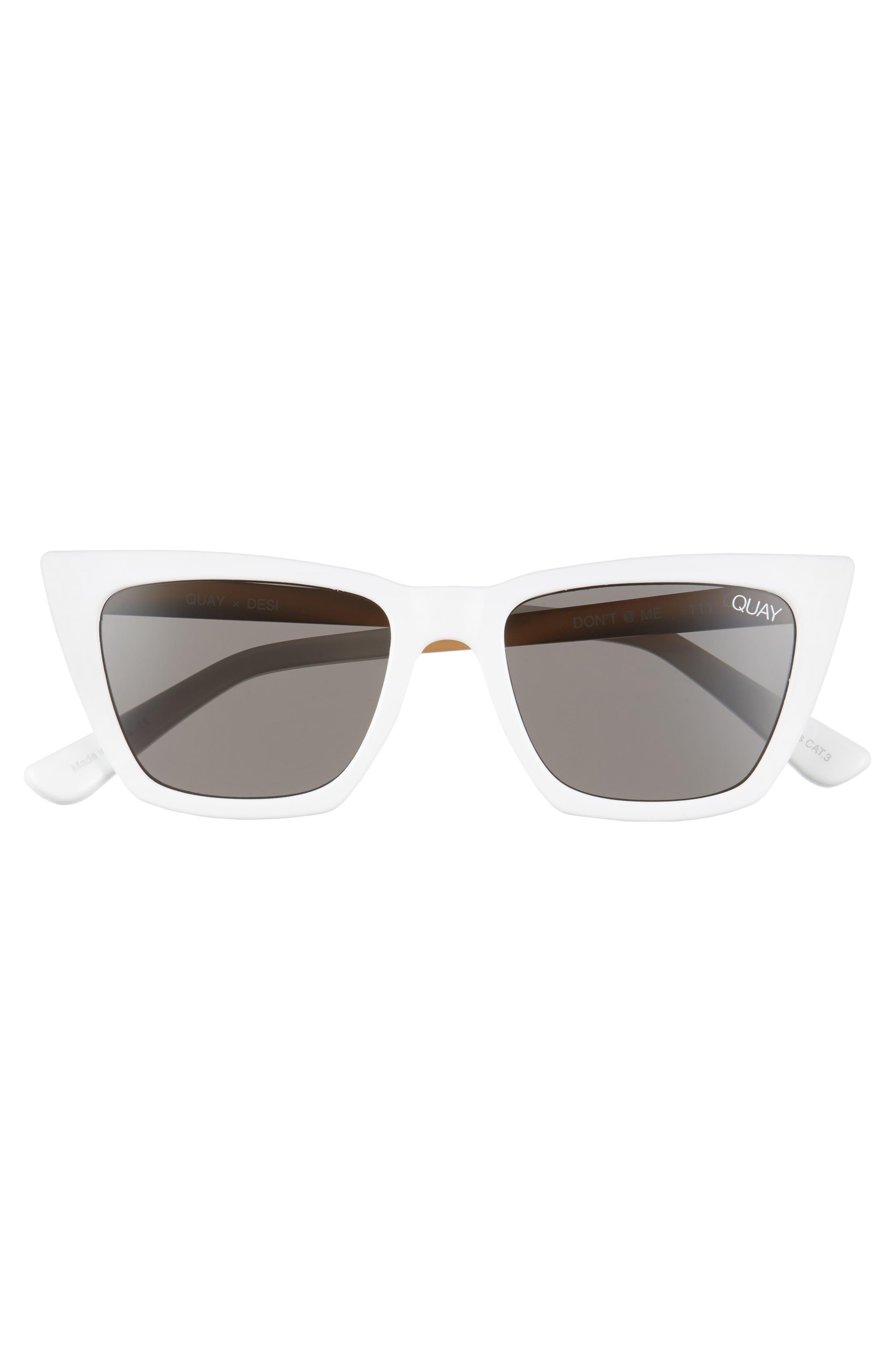x Desi Perkins Don't @ Me 48mm Cat Eye Sunglasses,                             Alternate thumbnail 3, color,                             WHITE/ SMOKE