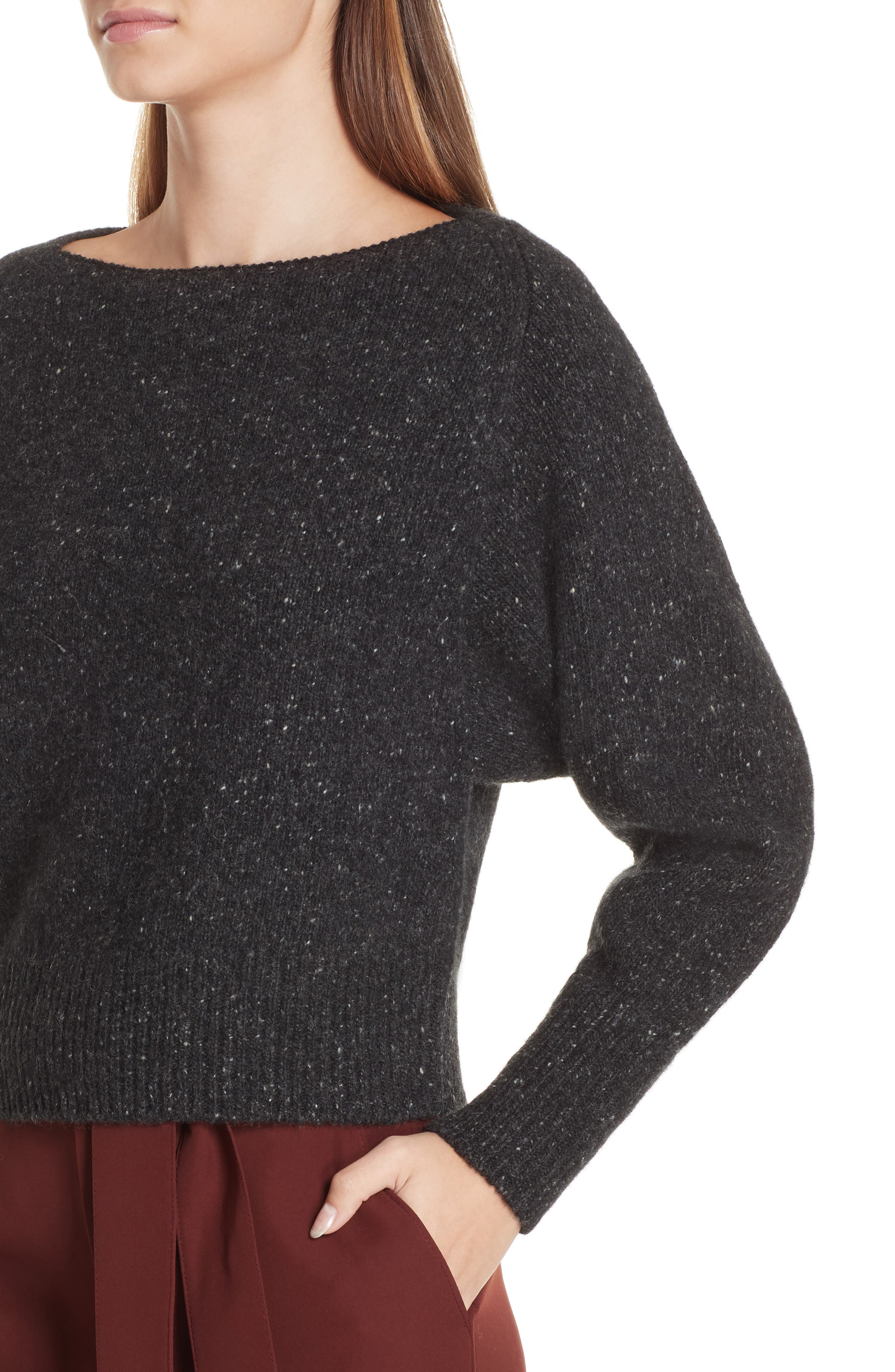 Cashmere Boatneck Sweater,                             Alternate thumbnail 4, color,                             CHARCOAL
