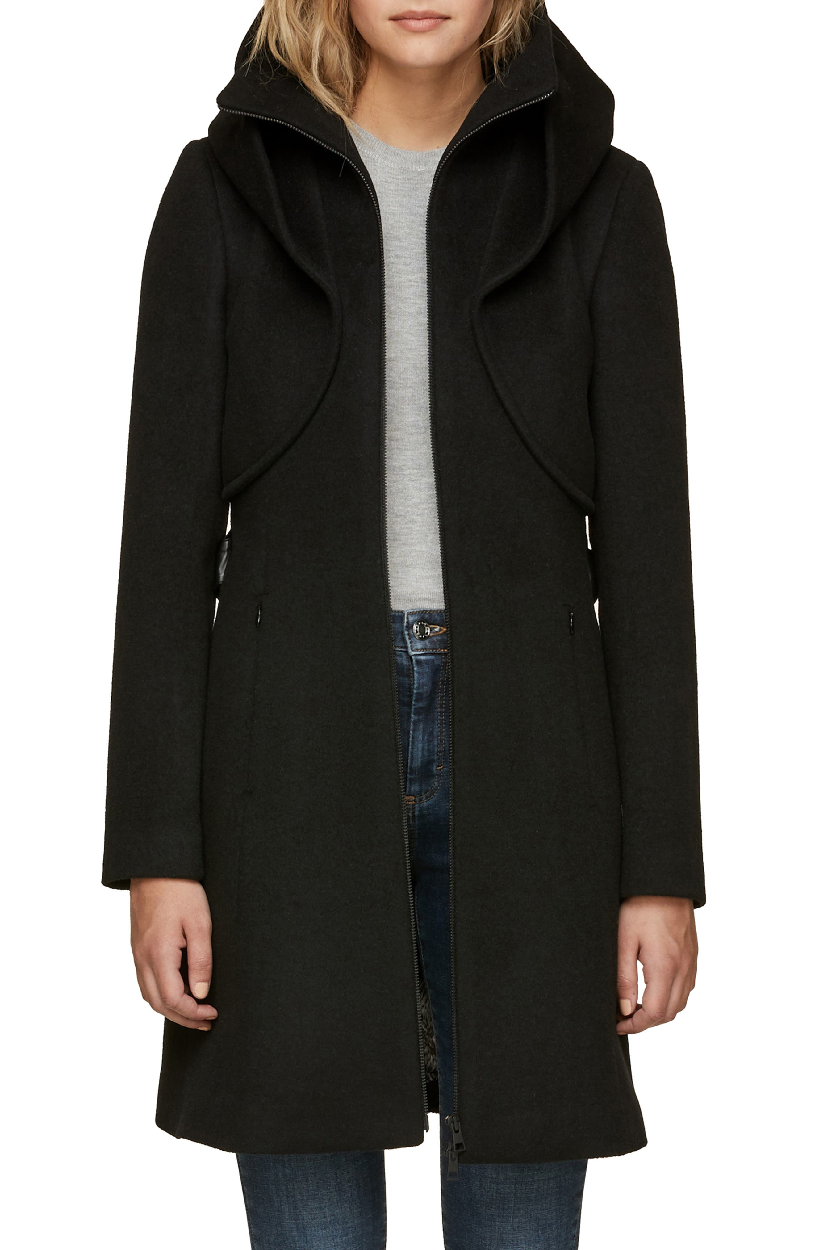 Arya Belted & Hooded Wool Coat,                             Main thumbnail 1, color,                             001