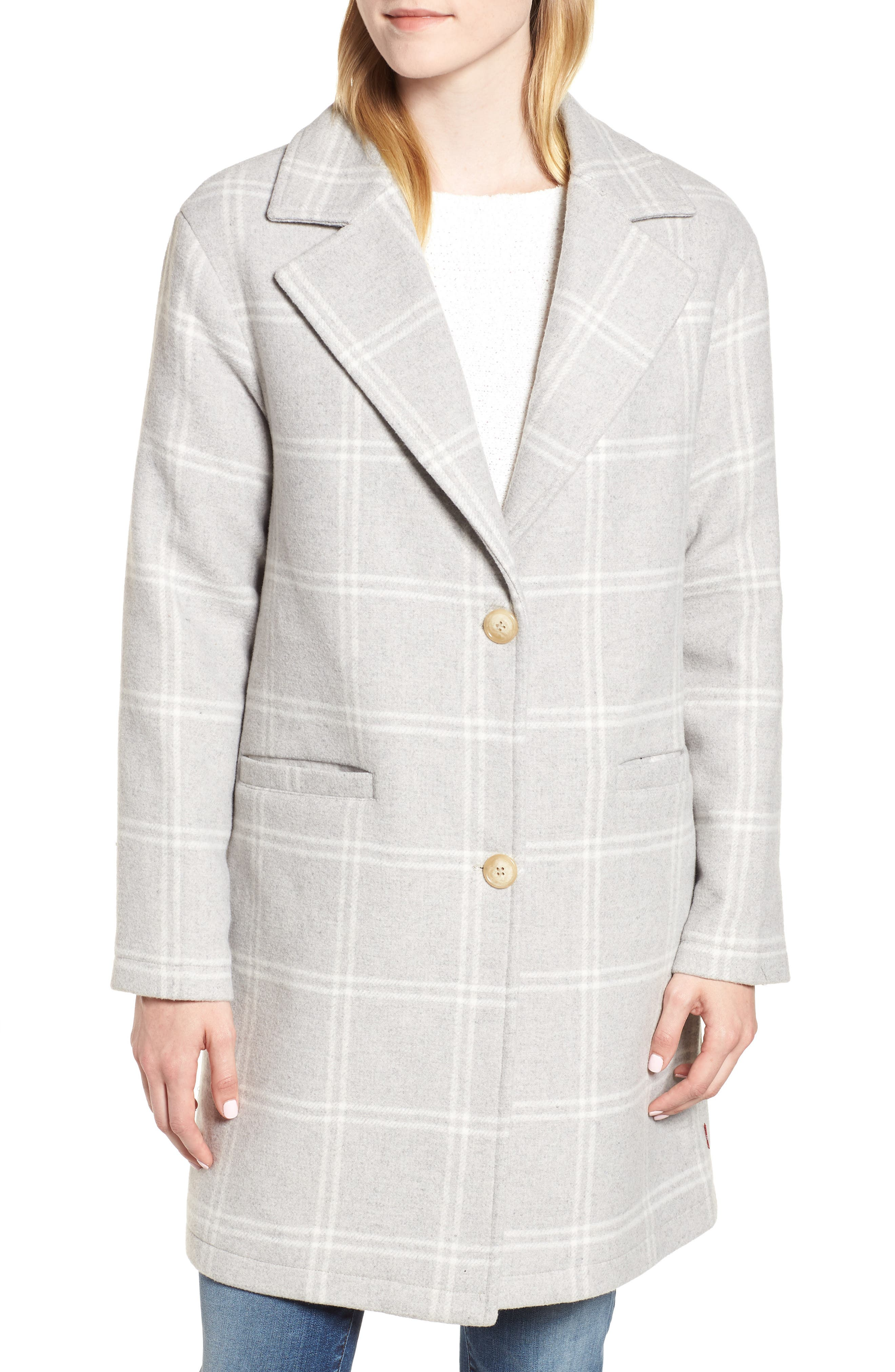 Wool Top Coat,                             Alternate thumbnail 4, color,                             GREY PLAID WOOL